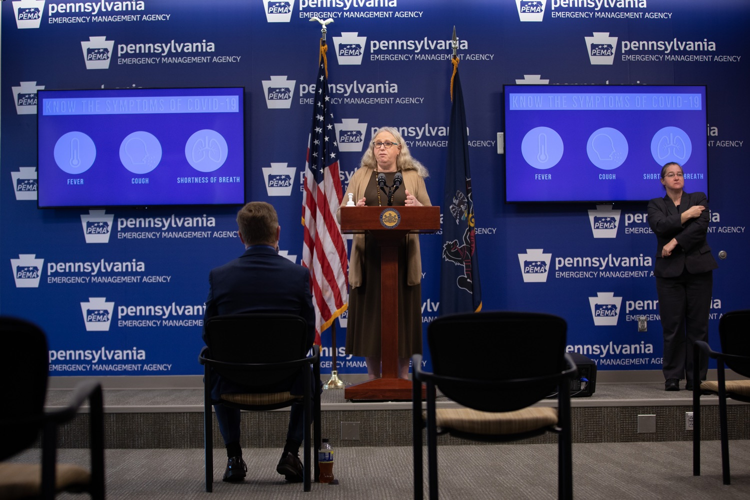 """<a href=""""https://filesource.wostreaming.net/commonwealthofpa/photo/18075_doh_covidupdate_dz_0002.jpg"""" target=""""_blank"""">⇣Download Photo<br></a>Pennsylvania Secretary of Health Dr. Rachel Levine speaking with the press.  The Pennsylvania Department of Health today confirmed as of 12:00 a.m., June 8, that there are 351 additional positive cases of COVID-19, bringing the statewide total to 75,943. All 67 counties in Pennsylvania have cases of COVID-19.  Harrisburg, PA - June 8, 2020."""