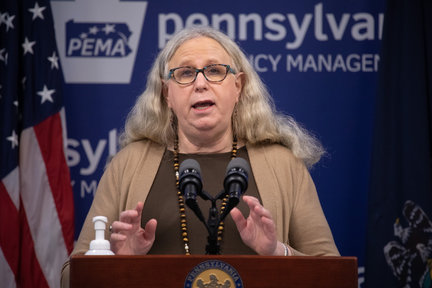 """<a href=""""https://filesource.wostreaming.net/commonwealthofpa/photo/18075_doh_covidupdate_dz_0007.jpg"""" target=""""_blank"""">⇣Download Photo<br></a>Pennsylvania Secretary of Health Dr. Rachel Levine speaking with the press.  The Pennsylvania Department of Health today confirmed as of 12:00 a.m., June 8, that there are 351 additional positive cases of COVID-19, bringing the statewide total to 75,943. All 67 counties in Pennsylvania have cases of COVID-19.  Harrisburg, PA - June 8, 2020."""