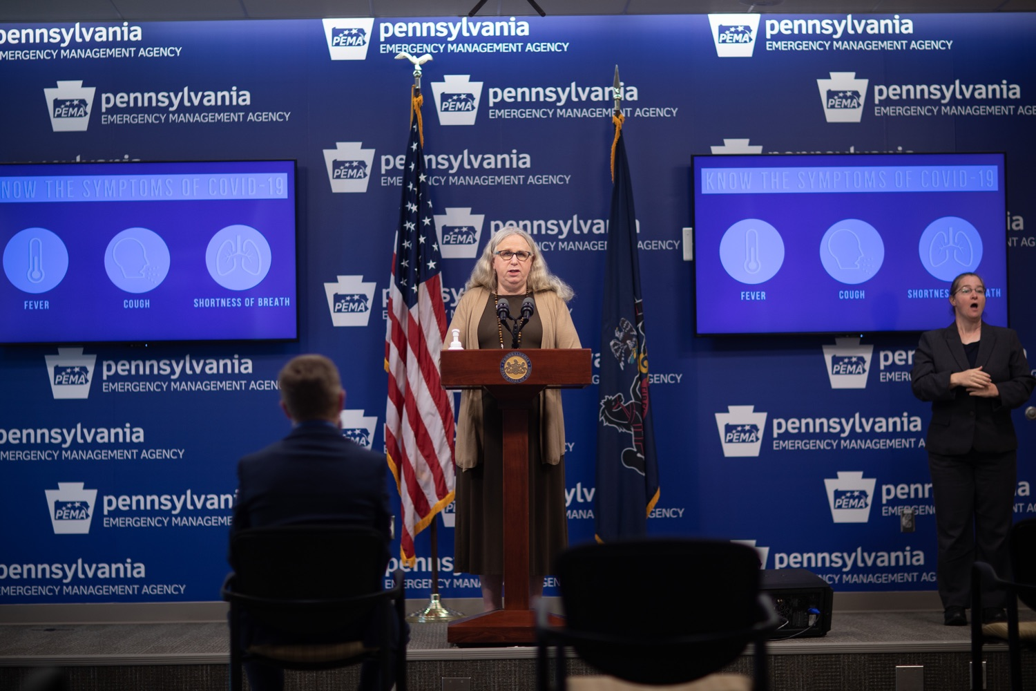"""<a href=""""https://filesource.wostreaming.net/commonwealthofpa/photo/18075_doh_covidupdate_dz_0008.jpg"""" target=""""_blank"""">⇣Download Photo<br></a>Pennsylvania Secretary of Health Dr. Rachel Levine speaking with the press.  The Pennsylvania Department of Health today confirmed as of 12:00 a.m., June 8, that there are 351 additional positive cases of COVID-19, bringing the statewide total to 75,943. All 67 counties in Pennsylvania have cases of COVID-19.  Harrisburg, PA - June 8, 2020."""