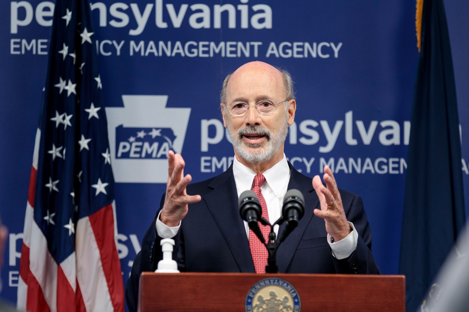 "<a href=""https://filesource.wostreaming.net/commonwealthofpa/photo/18078_GOV_Covid_Update_76846_NK_002.jpg"" target=""_blank"">⇣ Download Photo<br></a>Governor Tom Wolf speaks during a press conference addressing the 2019 Novel Coronavirus (COVID-19) in Pennsylvania, inside PEMA headquarters on Wednesday, June 10, 2020."