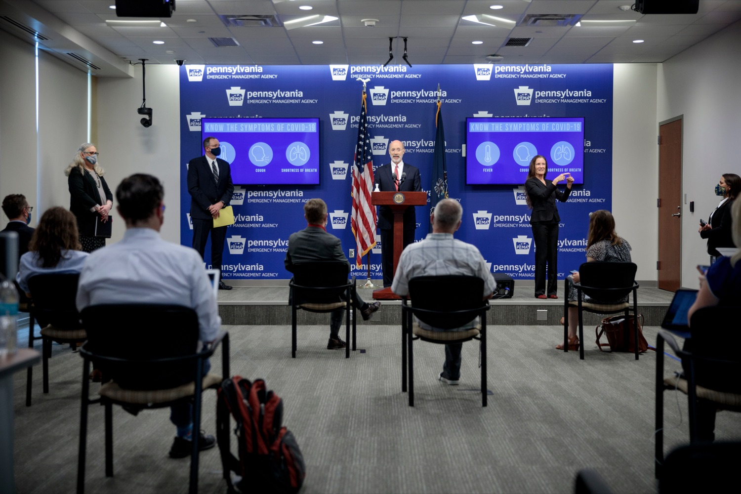 "<a href=""https://filesource.wostreaming.net/commonwealthofpa/photo/18078_GOV_Covid_Update_76846_NK_003.jpg"" target=""_blank"">⇣ Download Photo<br></a>Governor Tom Wolf speaks during a press conference addressing the 2019 Novel Coronavirus (COVID-19) in Pennsylvania, inside PEMA headquarters on Wednesday, June 10, 2020."