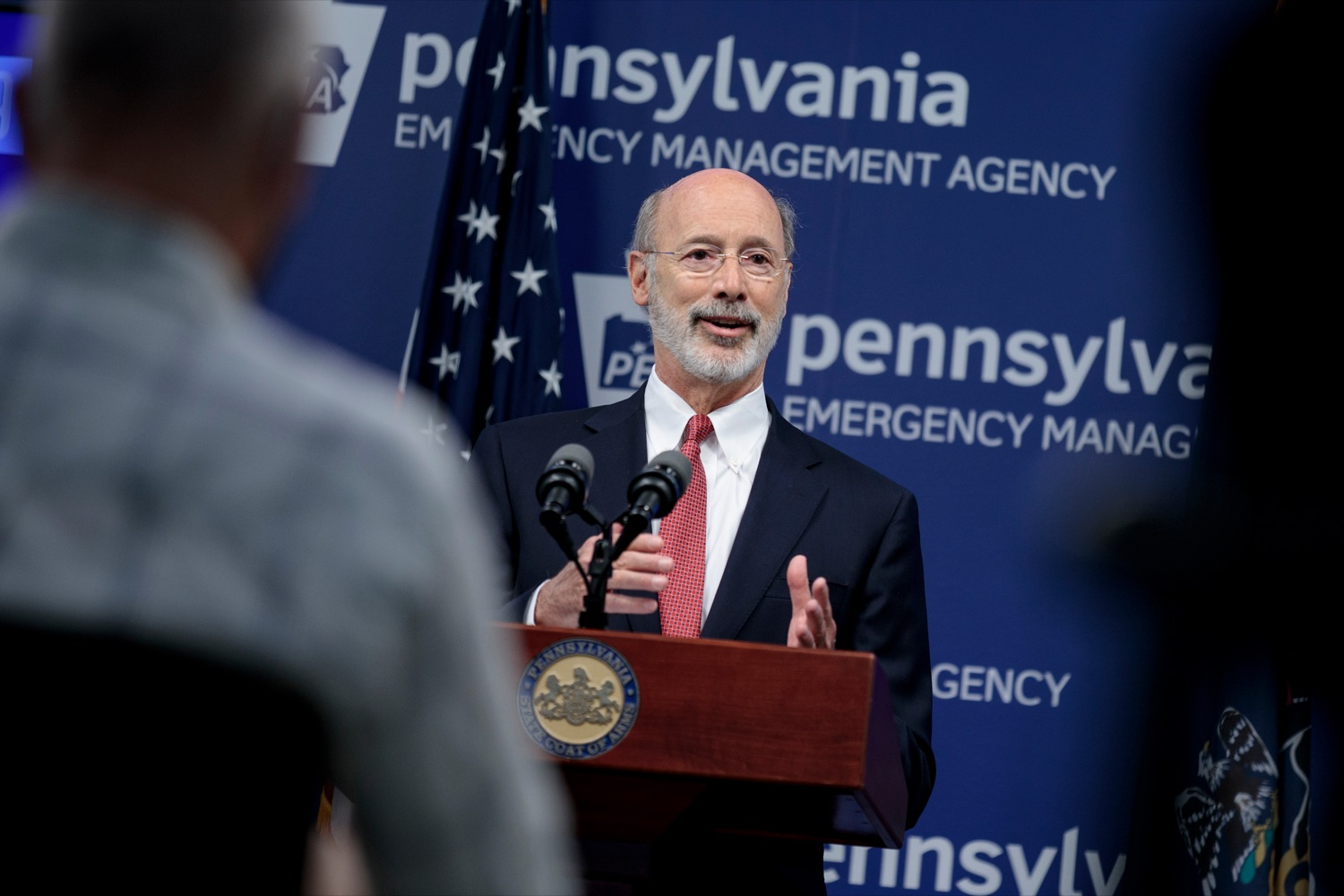 "<a href=""https://filesource.wostreaming.net/commonwealthofpa/photo/18078_GOV_Covid_Update_76846_NK_005.jpg"" target=""_blank"">⇣ Download Photo<br></a>Governor Tom Wolf speaks during a press conference addressing the 2019 Novel Coronavirus (COVID-19) in Pennsylvania, inside PEMA headquarters on Wednesday, June 10, 2020."