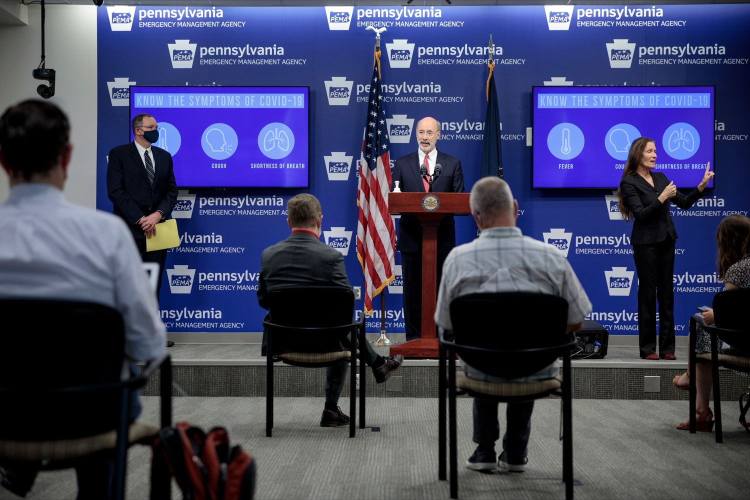 "<a href=""https://filesource.wostreaming.net/commonwealthofpa/photo/18078_GOV_Covid_Update_76846_NK_006.jpg"" target=""_blank"">⇣ Download Photo<br></a>Governor Tom Wolf speaks during a press conference addressing the 2019 Novel Coronavirus (COVID-19) in Pennsylvania, inside PEMA headquarters on Wednesday, June 10, 2020."