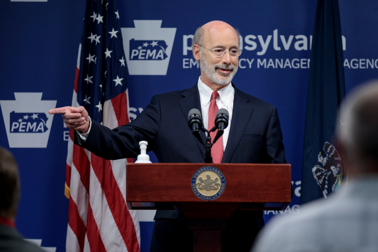"<a href=""https://filesource.wostreaming.net/commonwealthofpa/photo/18078_GOV_Covid_Update_76846_NK_008.jpg"" target=""_blank"">⇣ Download Photo<br></a>Governor Tom Wolf speaks during a press conference addressing the 2019 Novel Coronavirus (COVID-19) in Pennsylvania, inside PEMA headquarters on Wednesday, June 10, 2020."