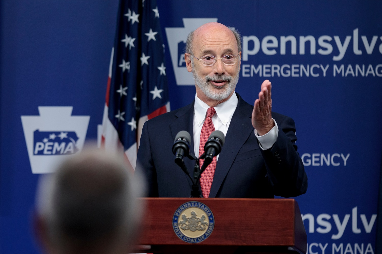 "<a href=""https://filesource.wostreaming.net/commonwealthofpa/photo/18078_GOV_Covid_Update_76846_NK_009.jpg"" target=""_blank"">⇣ Download Photo<br></a>Governor Tom Wolf speaks during a press conference addressing the 2019 Novel Coronavirus (COVID-19) in Pennsylvania, inside PEMA headquarters on Wednesday, June 10, 2020."