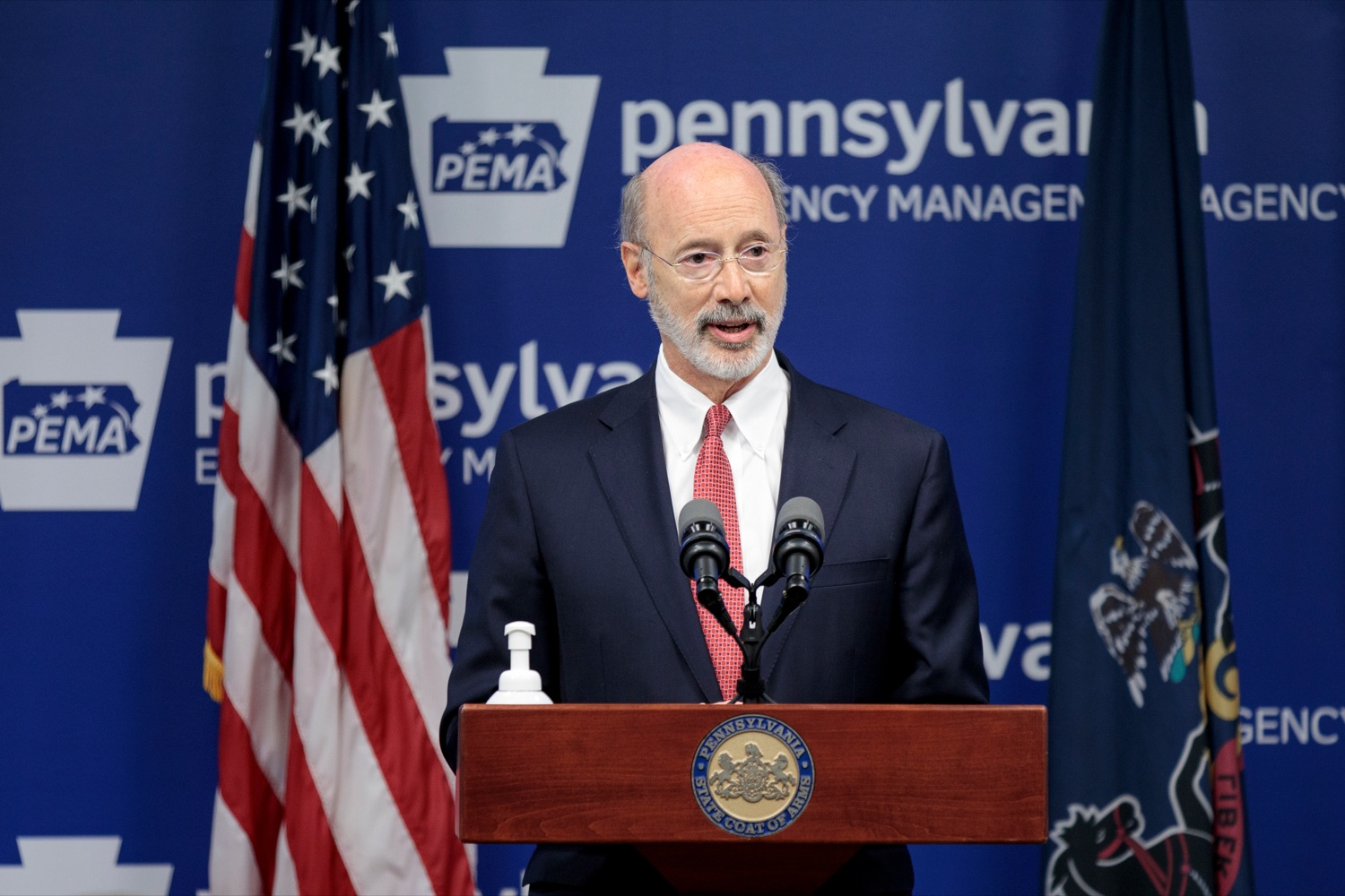 "<a href=""https://filesource.wostreaming.net/commonwealthofpa/photo/18078_GOV_Covid_Update_76846_NK_012.jpg"" target=""_blank"">⇣ Download Photo<br></a>Governor Tom Wolf speaks during a press conference addressing the 2019 Novel Coronavirus (COVID-19) in Pennsylvania, inside PEMA headquarters on Wednesday, June 10, 2020."