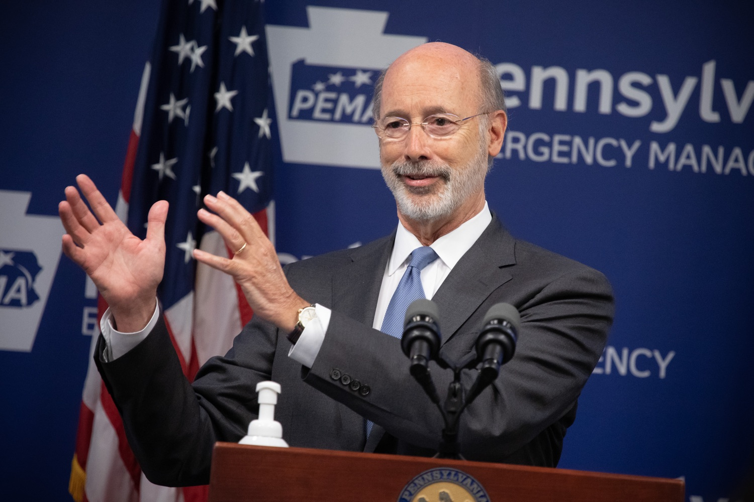 "<a href=""https://filesource.wostreaming.net/commonwealthofpa/photo/18088_gov_covid_update_dz_0001.jpg"" target=""_blank"">⇣ Download Photo<br></a>Governor Tom Wolf answers questions from the press. Governor Tom Wolf announced that people with intellectual disabilities and autism and the providers of support services for these vulnerable Pennsylvanians will receive $260 million in CARES Act funding to help continue to provide services during the COVID-19 pandemic.  Gov. Wolf was joined by Department of Human Services Secretary Teresa Miller, who outlined to details of funding allocations.  JUNE 15, 2020 - HARRISBURG, PA"