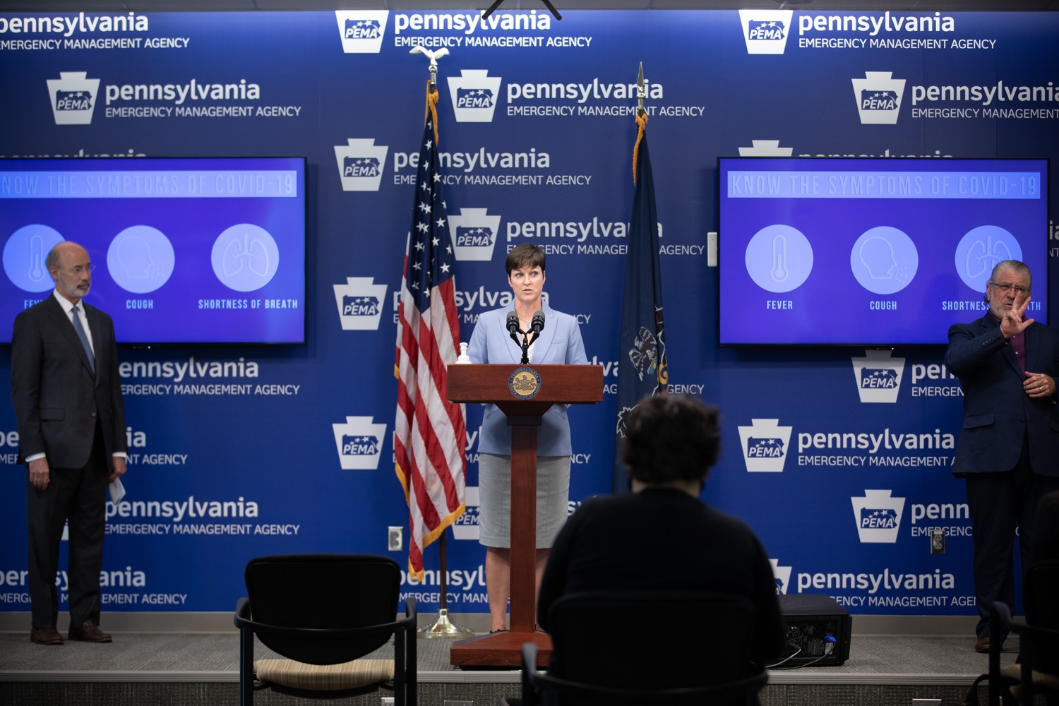 "<a href=""https://filesource.wostreaming.net/commonwealthofpa/photo/18088_gov_covid_update_dz_0002.jpg"" target=""_blank"">⇣ Download Photo<br></a>Secretary of Human Services Teresa Miller answers questions from the press.Governor Tom Wolf announced that people with intellectual disabilities and autism and the providers of support services for these vulnerable Pennsylvanians will receive $260 million in CARES Act funding to help continue to provide services during the COVID-19 pandemic.  Gov. Wolf was joined by Department of Human Services Secretary Teresa Miller, who outlined to details of funding allocations.  JUNE 15, 2020 - HARRISBURG, PA"