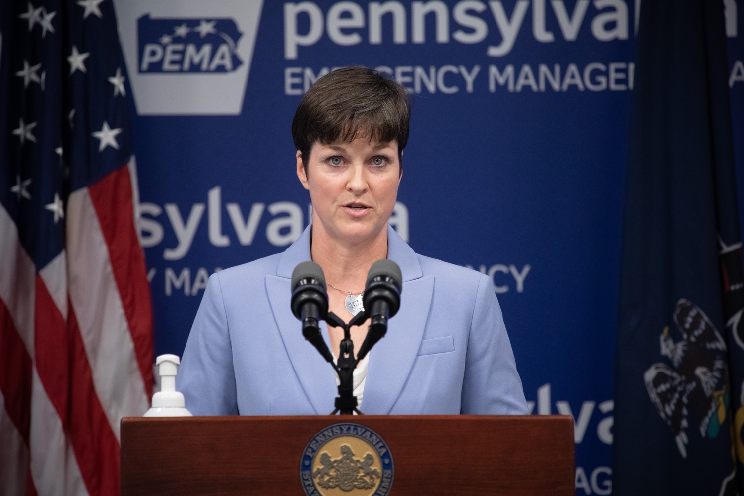 "<a href=""https://filesource.wostreaming.net/commonwealthofpa/photo/18088_gov_covid_update_dz_0005.jpg"" target=""_blank"">⇣ Download Photo<br></a>Secretary of Human Services Teresa Miller answers questions from the press.Governor Tom Wolf announced that people with intellectual disabilities and autism and the providers of support services for these vulnerable Pennsylvanians will receive $260 million in CARES Act funding to help continue to provide services during the COVID-19 pandemic.  Gov. Wolf was joined by Department of Human Services Secretary Teresa Miller, who outlined to details of funding allocations.  JUNE 15, 2020 - HARRISBURG, PA"