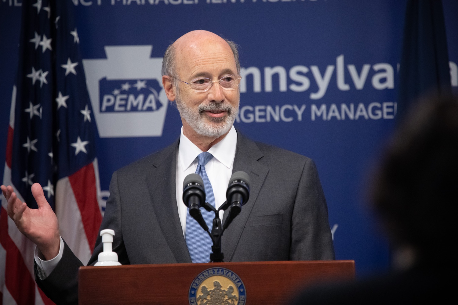 "<a href=""https://filesource.wostreaming.net/commonwealthofpa/photo/18088_gov_covid_update_dz_0006.jpg"" target=""_blank"">⇣ Download Photo<br></a>Governor Tom Wolf answers questions from the press. Governor Tom Wolf announced that people with intellectual disabilities and autism and the providers of support services for these vulnerable Pennsylvanians will receive $260 million in CARES Act funding to help continue to provide services during the COVID-19 pandemic.  Gov. Wolf was joined by Department of Human Services Secretary Teresa Miller, who outlined to details of funding allocations.  JUNE 15, 2020 - HARRISBURG, PA"