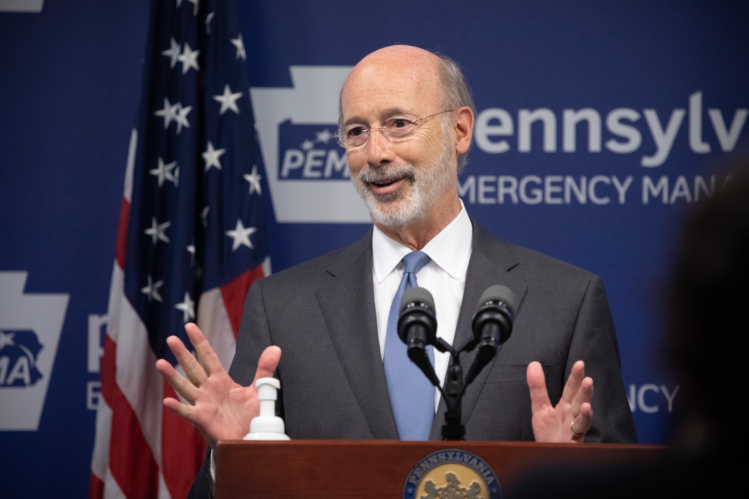 "<a href=""https://filesource.wostreaming.net/commonwealthofpa/photo/18088_gov_covid_update_dz_0007.jpg"" target=""_blank"">⇣ Download Photo<br></a>Governor Tom Wolf answers questions from the press. Governor Tom Wolf announced that people with intellectual disabilities and autism and the providers of support services for these vulnerable Pennsylvanians will receive $260 million in CARES Act funding to help continue to provide services during the COVID-19 pandemic.  Gov. Wolf was joined by Department of Human Services Secretary Teresa Miller, who outlined to details of funding allocations.  JUNE 15, 2020 - HARRISBURG, PA"