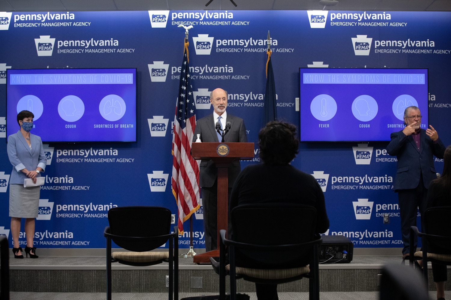 "<a href=""https://filesource.wostreaming.net/commonwealthofpa/photo/18088_gov_covid_update_dz_0008.jpg"" target=""_blank"">⇣ Download Photo<br></a>Governor Tom Wolf answers questions from the press. Governor Tom Wolf announced that people with intellectual disabilities and autism and the providers of support services for these vulnerable Pennsylvanians will receive $260 million in CARES Act funding to help continue to provide services during the COVID-19 pandemic.  Gov. Wolf was joined by Department of Human Services Secretary Teresa Miller, who outlined to details of funding allocations.  JUNE 15, 2020 - HARRISBURG, PA"