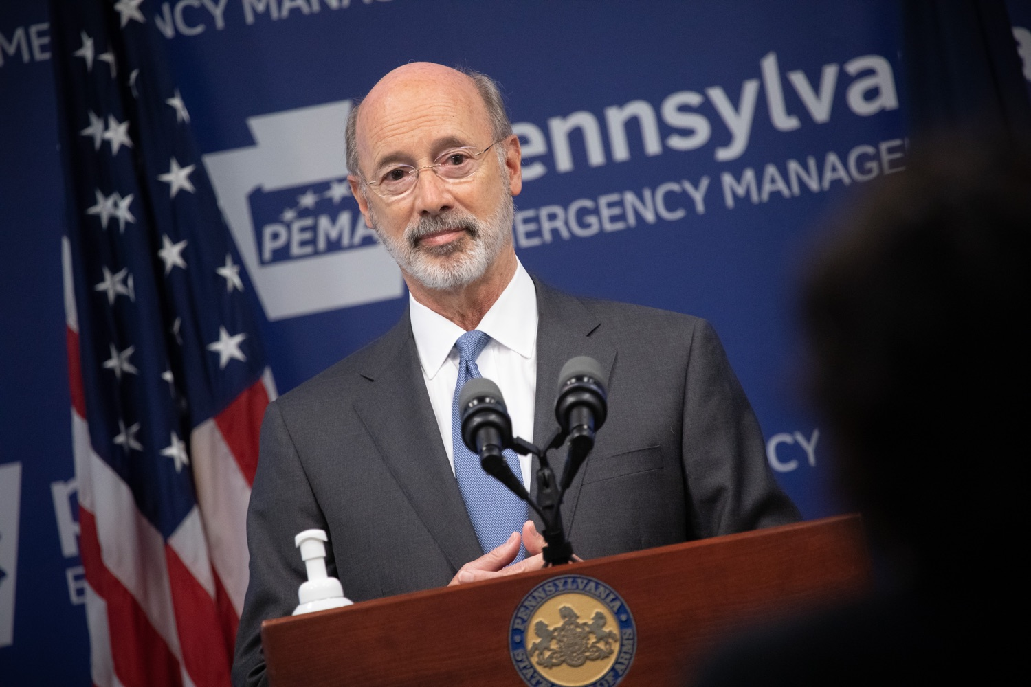 "<a href=""https://filesource.wostreaming.net/commonwealthofpa/photo/18088_gov_covid_update_dz_0009.jpg"" target=""_blank"">⇣ Download Photo<br></a>Governor Tom Wolf answers questions from the press. Governor Tom Wolf announced that people with intellectual disabilities and autism and the providers of support services for these vulnerable Pennsylvanians will receive $260 million in CARES Act funding to help continue to provide services during the COVID-19 pandemic.  Gov. Wolf was joined by Department of Human Services Secretary Teresa Miller, who outlined to details of funding allocations.  JUNE 15, 2020 - HARRISBURG, PA"