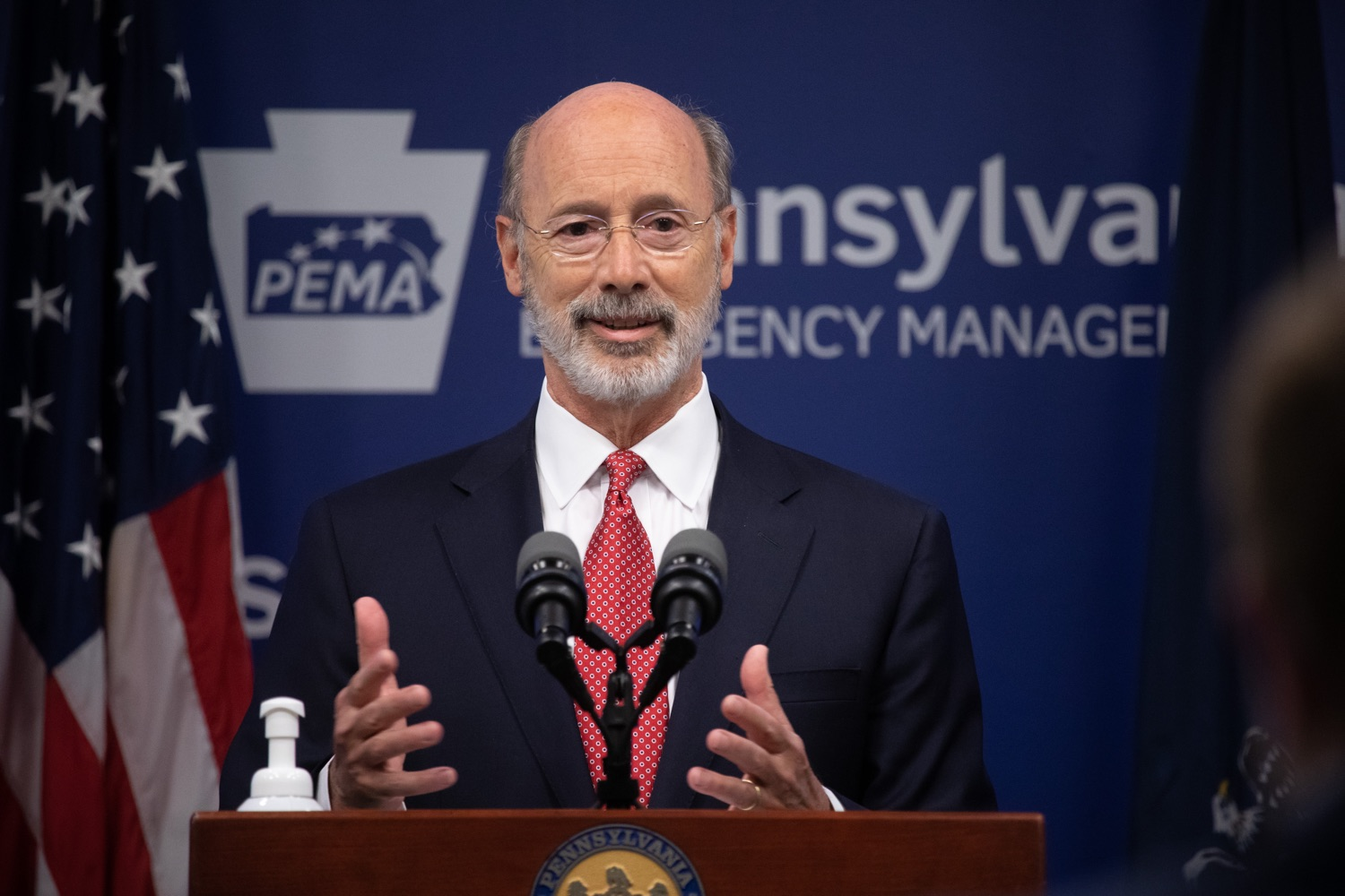 "<a href=""https://filesource.wostreaming.net/commonwealthofpa/photo/18091_gov_covid_update_dz_01.jpg"" target=""_blank"">⇣ Download Photo<br></a>Pennsylvania Governor Tom Wolf answering questions from the press.  As states across the country begin to reopen and nearly half are seeing COVID-19 cases rise, Governor Tom Wolf announced Friday that Pennsylvania is not one of them. ...Today at a daily COVID briefing with Health Secretary Dr. Rachel Levine, he noted another milestone: The Centers for Disease Control and Prevention proprietary data for states indicates that we are one of just three states that has had a downward trajectory of COVID- 19 cases for more than 42 days. The other two states are Montana and Hawaii.  JUNE 17, 2020 - HARRISBURG, PA."