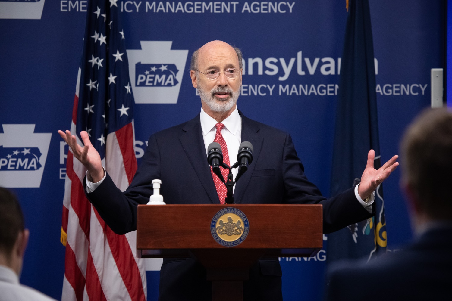 "<a href=""https://filesource.wostreaming.net/commonwealthofpa/photo/18091_gov_covid_update_dz_03.jpg"" target=""_blank"">⇣ Download Photo<br></a>Pennsylvania Governor Tom Wolf answering questions from the press.  As states across the country begin to reopen and nearly half are seeing COVID-19 cases rise, Governor Tom Wolf announced Friday that Pennsylvania is not one of them. ...Today at a daily COVID briefing with Health Secretary Dr. Rachel Levine, he noted another milestone: The Centers for Disease Control and Prevention proprietary data for states indicates that we are one of just three states that has had a downward trajectory of COVID- 19 cases for more than 42 days. The other two states are Montana and Hawaii.  JUNE 17, 2020 - HARRISBURG, PA."