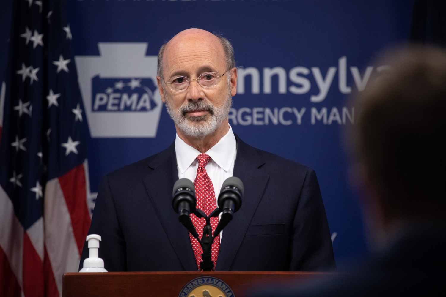 "<a href=""https://filesource.wostreaming.net/commonwealthofpa/photo/18091_gov_covid_update_dz_04.jpg"" target=""_blank"">⇣ Download Photo<br></a>Pennsylvania Governor Tom Wolf answering questions from the press.  As states across the country begin to reopen and nearly half are seeing COVID-19 cases rise, Governor Tom Wolf announced Friday that Pennsylvania is not one of them. ...Today at a daily COVID briefing with Health Secretary Dr. Rachel Levine, he noted another milestone: The Centers for Disease Control and Prevention proprietary data for states indicates that we are one of just three states that has had a downward trajectory of COVID- 19 cases for more than 42 days. The other two states are Montana and Hawaii.  JUNE 17, 2020 - HARRISBURG, PA."