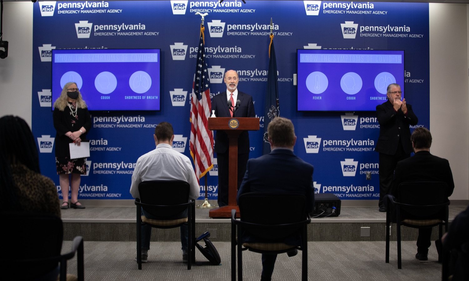 """<a href=""""https://filesource.wostreaming.net/commonwealthofpa/photo/18091_gov_covid_update_dz_06.jpg"""" target=""""_blank"""">⇣Download Photo<br></a>Pennsylvania Governor Tom Wolf answering questions from the press.  As states across the country begin to reopen and nearly half are seeing COVID-19 cases rise, Governor Tom Wolf announced Friday that Pennsylvania is not one of them. ...Today at a daily COVID briefing with Health Secretary Dr. Rachel Levine, he noted another milestone: The Centers for Disease Control and Prevention proprietary data for states indicates that we are one of just three states that has had a downward trajectory of COVID- 19 cases for more than 42 days. The other two states are Montana and Hawaii.  JUNE 17, 2020 - HARRISBURG, PA."""