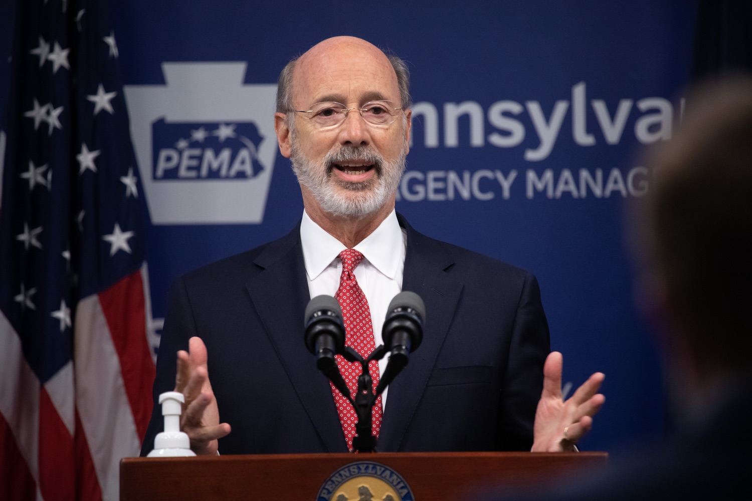 "<a href=""https://filesource.wostreaming.net/commonwealthofpa/photo/18091_gov_covid_update_dz_08.jpg"" target=""_blank"">⇣ Download Photo<br></a>Pennsylvania Governor Tom Wolf answering questions from the press.  As states across the country begin to reopen and nearly half are seeing COVID-19 cases rise, Governor Tom Wolf announced Friday that Pennsylvania is not one of them. ...Today at a daily COVID briefing with Health Secretary Dr. Rachel Levine, he noted another milestone: The Centers for Disease Control and Prevention proprietary data for states indicates that we are one of just three states that has had a downward trajectory of COVID- 19 cases for more than 42 days. The other two states are Montana and Hawaii.  JUNE 17, 2020 - HARRISBURG, PA."