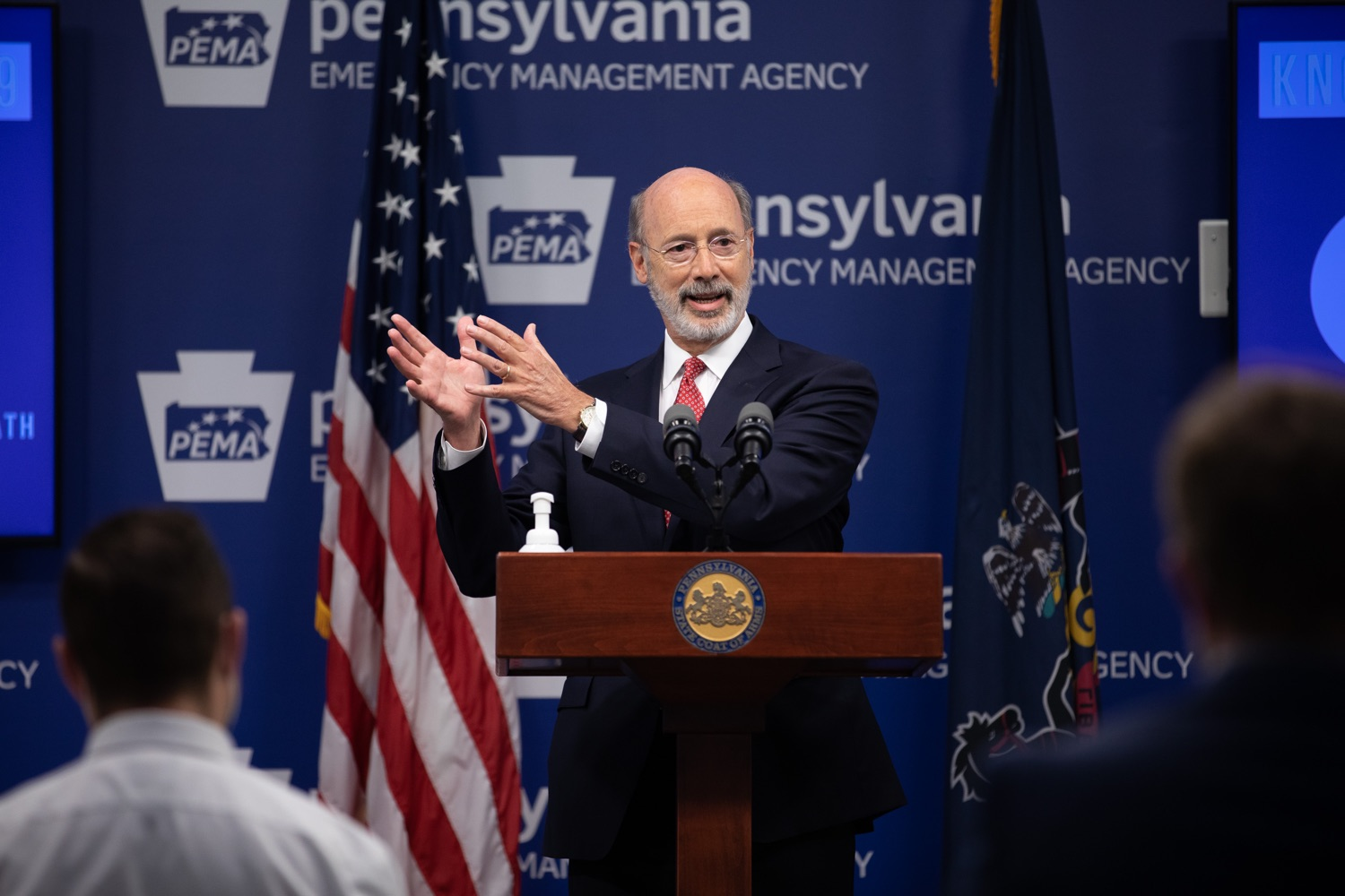 "<a href=""https://filesource.wostreaming.net/commonwealthofpa/photo/18091_gov_covid_update_dz_09.jpg"" target=""_blank"">⇣ Download Photo<br></a>Pennsylvania Governor Tom Wolf answering questions from the press.  As states across the country begin to reopen and nearly half are seeing COVID-19 cases rise, Governor Tom Wolf announced Friday that Pennsylvania is not one of them. ...Today at a daily COVID briefing with Health Secretary Dr. Rachel Levine, he noted another milestone: The Centers for Disease Control and Prevention proprietary data for states indicates that we are one of just three states that has had a downward trajectory of COVID- 19 cases for more than 42 days. The other two states are Montana and Hawaii.  JUNE 17, 2020 - HARRISBURG, PA."