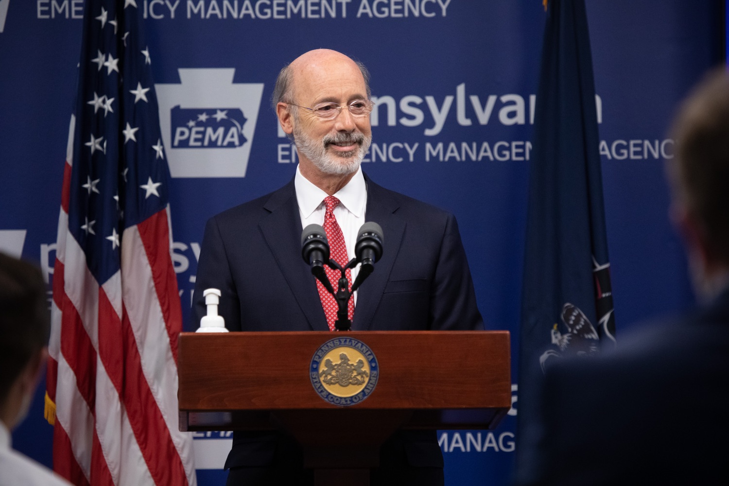 "<a href=""https://filesource.wostreaming.net/commonwealthofpa/photo/18091_gov_covid_update_dz_10.jpg"" target=""_blank"">⇣ Download Photo<br></a>Pennsylvania Governor Tom Wolf answering questions from the press.  As states across the country begin to reopen and nearly half are seeing COVID-19 cases rise, Governor Tom Wolf announced Friday that Pennsylvania is not one of them. ...Today at a daily COVID briefing with Health Secretary Dr. Rachel Levine, he noted another milestone: The Centers for Disease Control and Prevention proprietary data for states indicates that we are one of just three states that has had a downward trajectory of COVID- 19 cases for more than 42 days. The other two states are Montana and Hawaii.  JUNE 17, 2020 - HARRISBURG, PA."