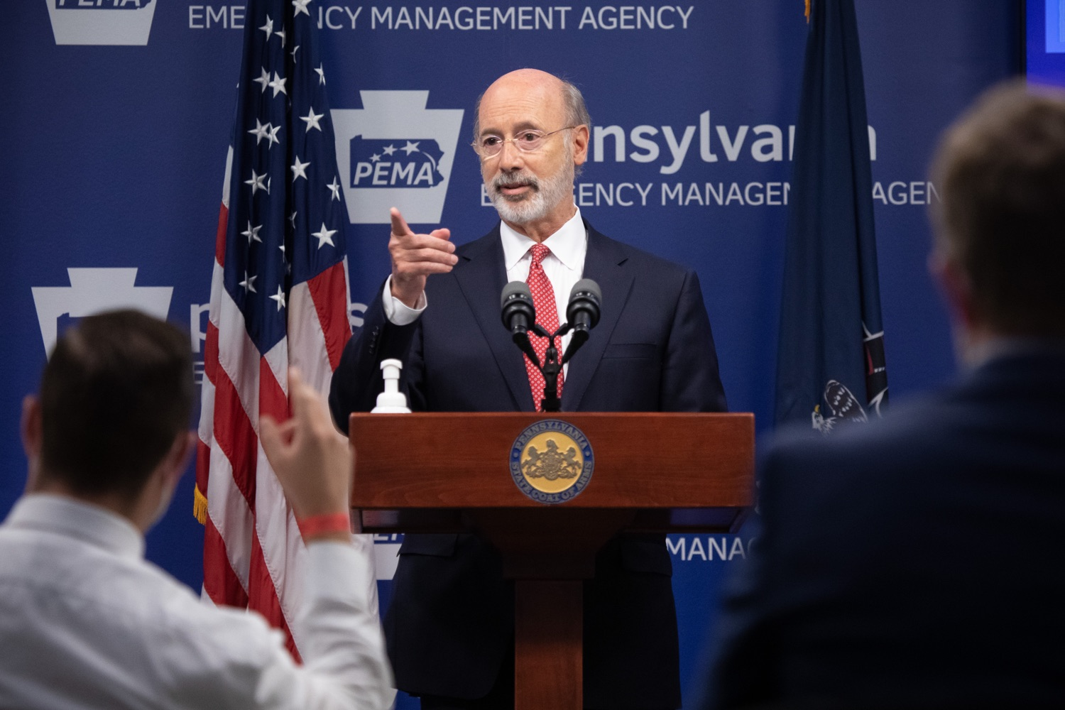 "<a href=""https://filesource.wostreaming.net/commonwealthofpa/photo/18091_gov_covid_update_dz_12.jpg"" target=""_blank"">⇣ Download Photo<br></a>Pennsylvania Governor Tom Wolf answering questions from the press.  As states across the country begin to reopen and nearly half are seeing COVID-19 cases rise, Governor Tom Wolf announced Friday that Pennsylvania is not one of them. ...Today at a daily COVID briefing with Health Secretary Dr. Rachel Levine, he noted another milestone: The Centers for Disease Control and Prevention proprietary data for states indicates that we are one of just three states that has had a downward trajectory of COVID- 19 cases for more than 42 days. The other two states are Montana and Hawaii.  JUNE 17, 2020 - HARRISBURG, PA."