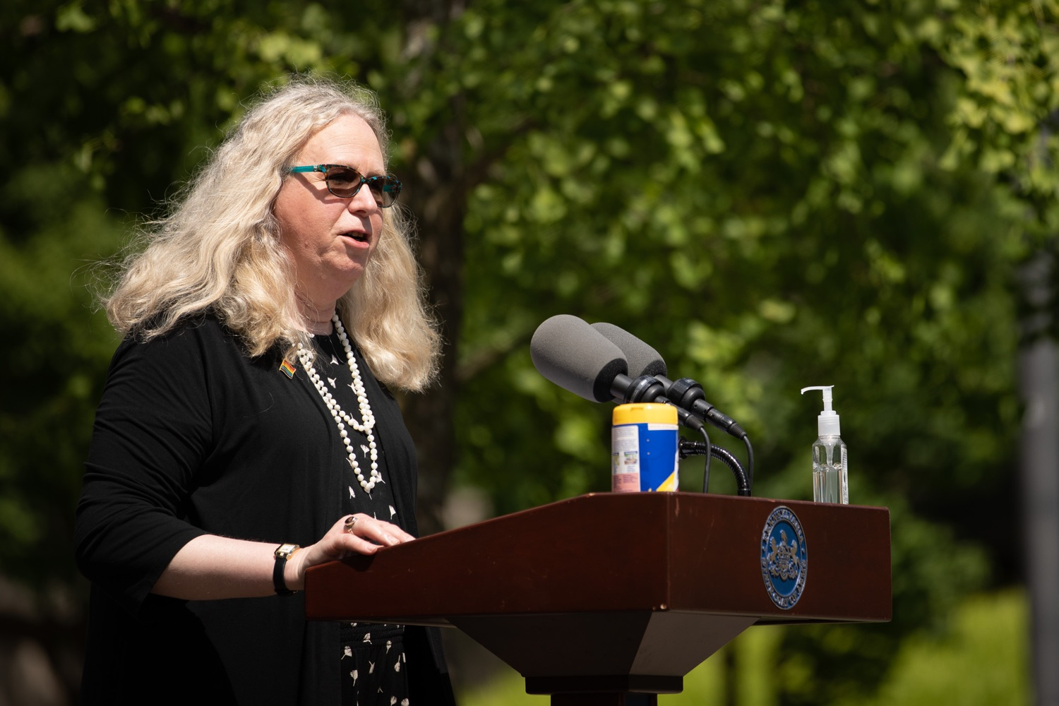 """<a href=""""https://filesource.wostreaming.net/commonwealthofpa/photo/18093_gov-healthcare_workers_dz_08.jpg"""" target=""""_blank"""">⇣Download Photo<br></a>Sec. of Health Dr. Rachel Levine speaking during her visit to Milton S. Hershey Medical Center. As the commonwealth continues its measured, phased reopening and COVID-19 case counts continue to decline, Governor Tom Wolf visited Penn State Milton S. Hershey Medical Center today to thank staff and learn more about how the facility is handling the pandemic and preparing for a possible resurgence in the fall.  Harrisburg, PA  June 24, 2020"""