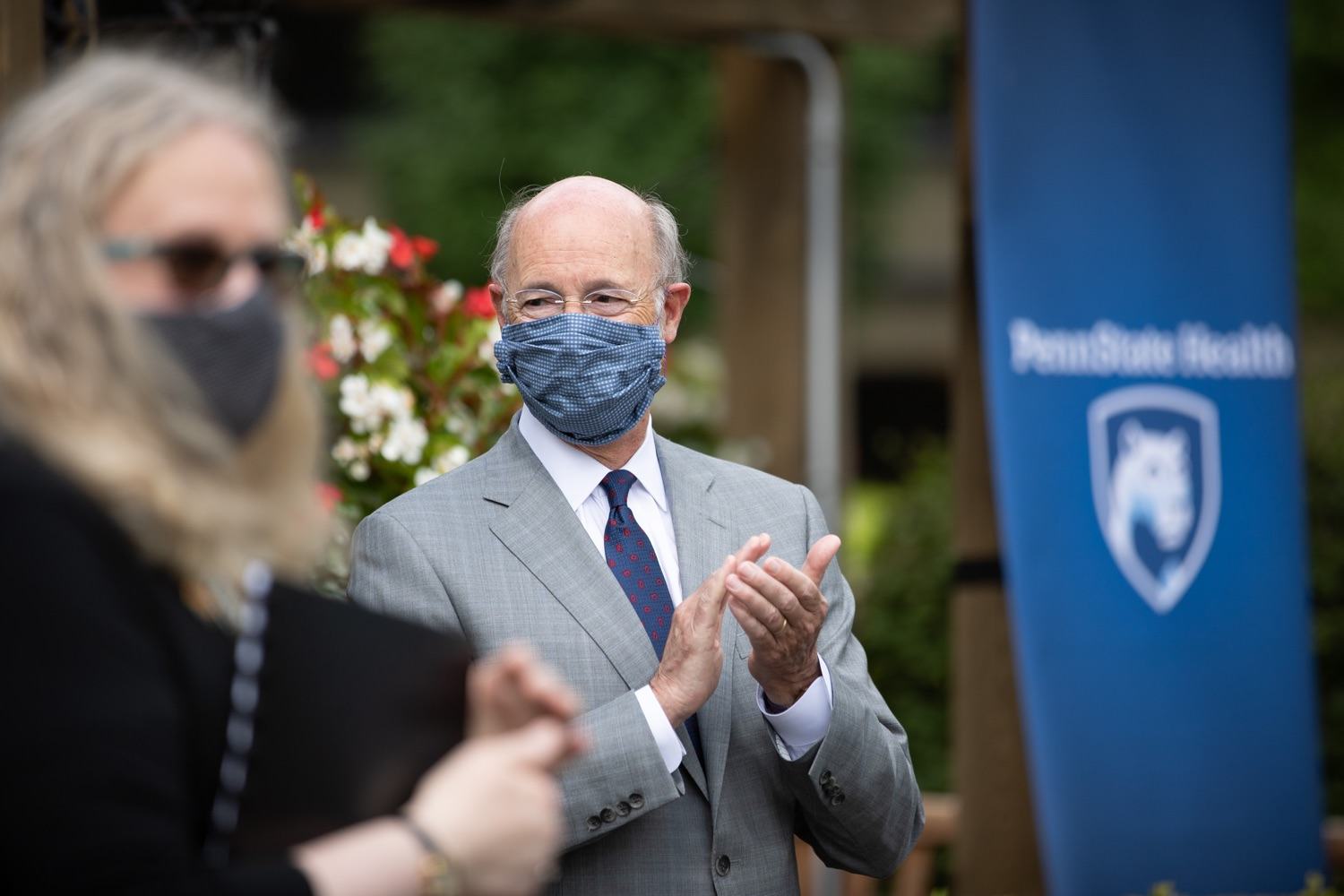"""<a href=""""https://filesource.wostreaming.net/commonwealthofpa/photo/18093_gov-healthcare_workers_dz_10.jpg"""" target=""""_blank"""">⇣Download Photo<br></a>Pennsylvania Governor Tom Wolf listening to speakers during his visit to Milton S. Hershey Medical Center.  As the commonwealth continues its measured, phased reopening and COVID-19 case counts continue to decline, Governor Tom Wolf visited Penn State Milton S. Hershey Medical Center today to thank staff and learn more about how the facility is handling the pandemic and preparing for a possible resurgence in the fall.  Harrisburg, PA  June 24, 2020"""