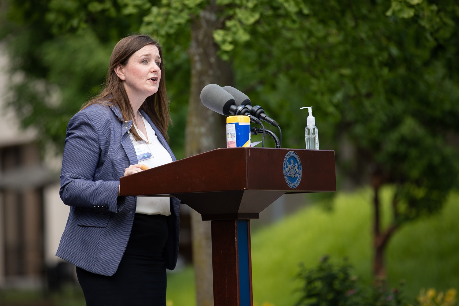 "<a href=""https://filesource.wostreaming.net/commonwealthofpa/photo/18093_gov-healthcare_workers_dz_13.jpg"" target=""_blank"">⇣ Download Photo<br></a>Deborah Berini, president, Penn State Health Milton S. Hershey Medical Center speaking during the Governors visit to Hershey Medical Center.As the commonwealth continues its measured, phased reopening and COVID-19 case counts continue to decline, Governor Tom Wolf visited Penn State Milton S. Hershey Medical Center today to thank staff and learn more about how the facility is handling the pandemic and preparing for a possible resurgence in the fall.  Harrisburg, PA  June 24, 2020"