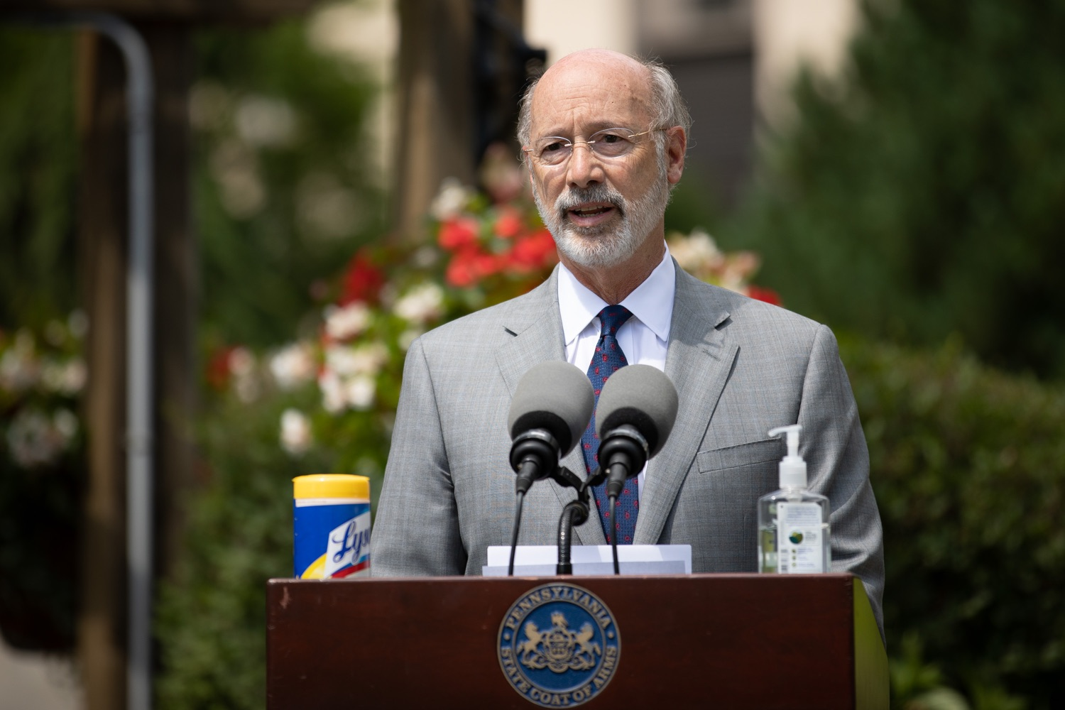 """<a href=""""https://filesource.wostreaming.net/commonwealthofpa/photo/18093_gov-healthcare_workers_dz_15.jpg"""" target=""""_blank"""">⇣Download Photo<br></a>Pennsylvania Governor Tom Wolf speaking during his visit to Milton S. Hershey Medical Center. As the commonwealth continues its measured, phased reopening and COVID-19 case counts continue to decline, Governor Tom Wolf visited Penn State Milton S. Hershey Medical Center today to thank staff and learn more about how the facility is handling the pandemic and preparing for a possible resurgence in the fall.  Harrisburg, PA  June 24, 2020"""