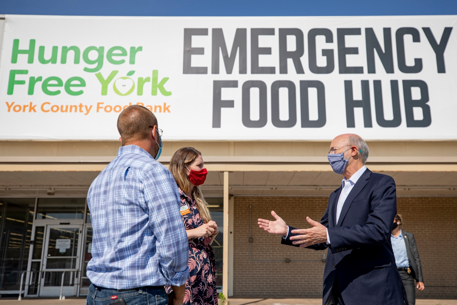 "<a href=""https://filesource.wostreaming.net/commonwealthofpa/photo/18095_GOV_Food_Bank_Volunteers_NK_001.jpg"" target=""_blank"">⇣ Download Photo<br></a>Governor Tom Wolf gets a tour of the York County Food Banks East York Emergency Food Hub, led by York County Food Bank's Zach Wolgemuth, director of programs, left, and Jennifer Brillhart, president and CEO, center, on Tuesday, June 23, 2020."