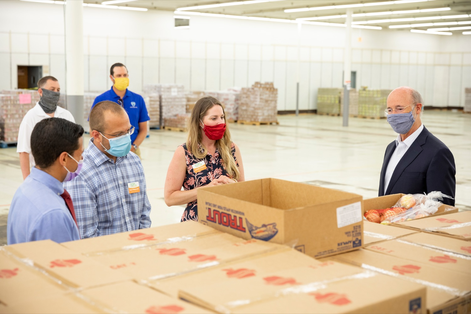"<a href=""https://filesource.wostreaming.net/commonwealthofpa/photo/18095_GOV_Food_Bank_Volunteers_NK_005.jpg"" target=""_blank"">⇣ Download Photo<br></a>Governor Tom Wolf gets a tour of the York County Food Banks East York Emergency Food Hub, led by York County Food Bank's Zach Wolgemuth, director of programs, center left, and Jennifer Brillhart, president and CEO, center, on Tuesday, June 23, 2020."