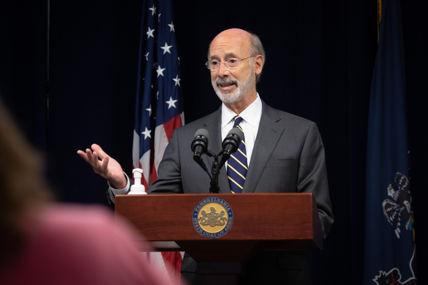 "<a href=""https://filesource.wostreaming.net/commonwealthofpa/photo/18141_gov_sb637_bill_signing_dz_05.jpg"" target=""_blank"">⇣ Download Photo<br></a>Pennsylvania Governor Tom Wolf speaking with the press.  Building on his criminal justice reforms and fulfilling a recommendation to modernize job licensing, Governor Tom Wolf today signed Senate Bill 637, which removes outdated licensing barriers so skilled workers with criminal records can get a second chance and start good careers. The governor has advocated for sweeping changes to the licensing process for years. Harrisburg, PA  July 1, 2020"