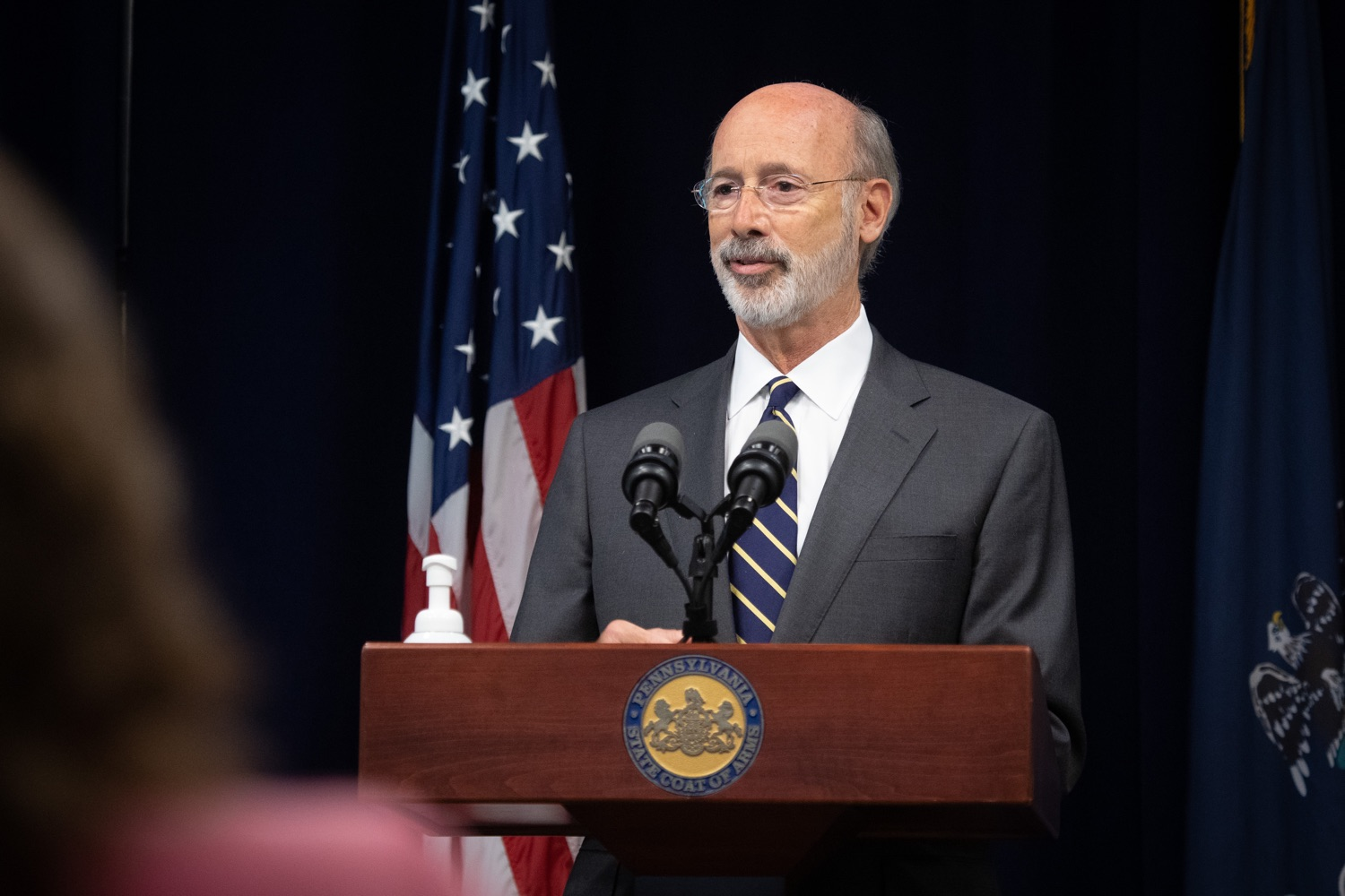 "<a href=""https://filesource.wostreaming.net/commonwealthofpa/photo/18141_gov_sb637_bill_signing_dz_16.jpg"" target=""_blank"">⇣ Download Photo<br></a>Pennsylvania Governor Tom Wolf speaking with the press.  Building on his criminal justice reforms and fulfilling a recommendation to modernize job licensing, Governor Tom Wolf today signed Senate Bill 637, which removes outdated licensing barriers so skilled workers with criminal records can get a second chance and start good careers. The governor has advocated for sweeping changes to the licensing process for years. Harrisburg, PA  July 1, 2020"