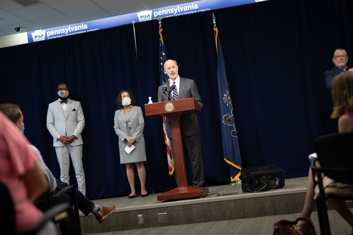 "<a href=""https://filesource.wostreaming.net/commonwealthofpa/photo/18141_gov_sb637_bill_signing_dz_19.jpg"" target=""_blank"">⇣ Download Photo<br></a>Pennsylvania Governor Tom Wolf speaking with the press.  Building on his criminal justice reforms and fulfilling a recommendation to modernize job licensing, Governor Tom Wolf today signed Senate Bill 637, which removes outdated licensing barriers so skilled workers with criminal records can get a second chance and start good careers. The governor has advocated for sweeping changes to the licensing process for years. Harrisburg, PA  July 1, 2020"