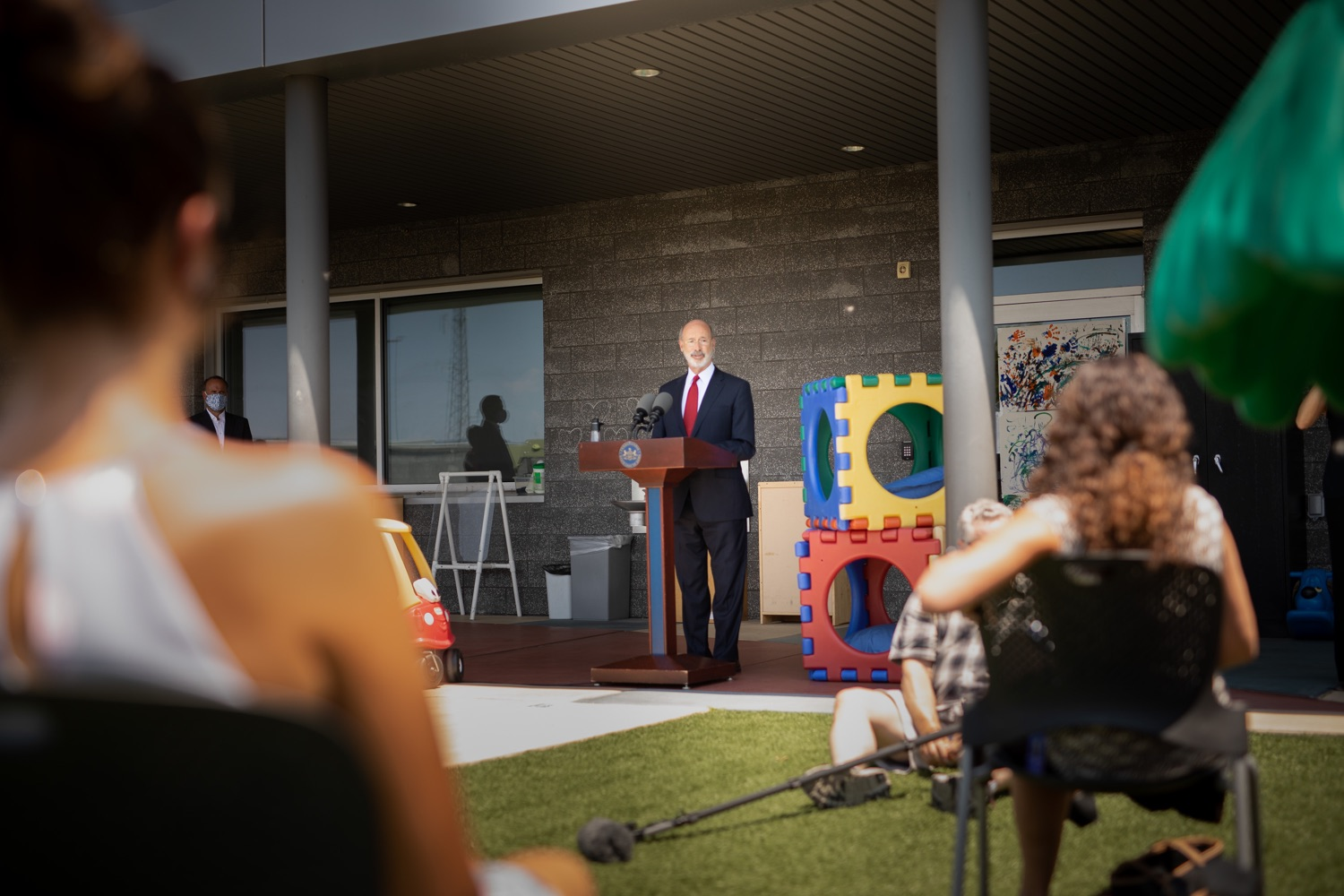 "<a href=""https://filesource.wostreaming.net/commonwealthofpa/photo/18143_gov_cares_dz_08.jpg"" target=""_blank"">⇣ Download Photo<br></a>Pennsylvania Governor Tom Wolf speaking with the press.  Governor Tom Wolf visited the child care center at PSECU headquarters in Harrisburg today to announce $53 million in additional financial support for child care providers that have suffered during COVID-19.  Harrisburg, PA  July 6, 2020.."