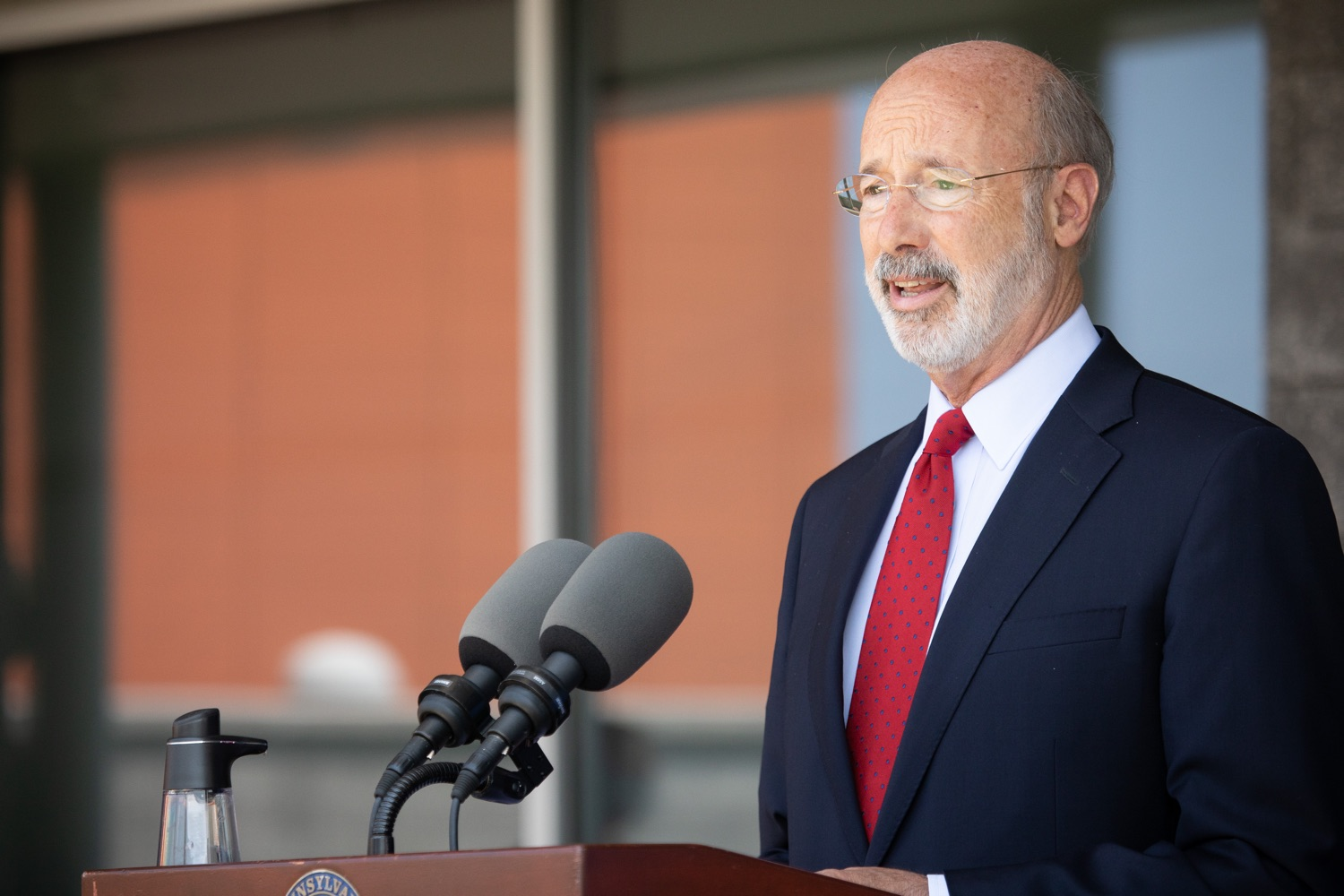"<a href=""https://filesource.wostreaming.net/commonwealthofpa/photo/18143_gov_cares_dz_12.jpg"" target=""_blank"">⇣ Download Photo<br></a>Pennsylvania Governor Tom Wolf speaking with the press.  Governor Tom Wolf visited the child care center at PSECU headquarters in Harrisburg today to announce $53 million in additional financial support for child care providers that have suffered during COVID-19.  Harrisburg, PA  July 6, 2020.."
