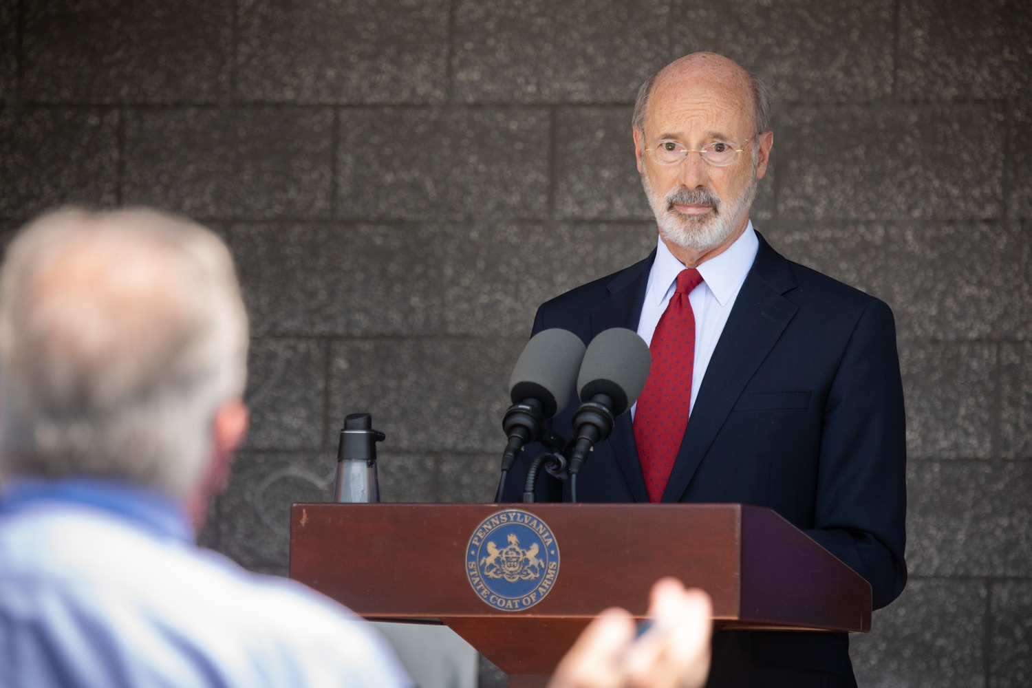 "<a href=""https://filesource.wostreaming.net/commonwealthofpa/photo/18143_gov_cares_dz_14.jpg"" target=""_blank"">⇣ Download Photo<br></a>Pennsylvania Governor Tom Wolf speaking with the press.  Governor Tom Wolf visited the child care center at PSECU headquarters in Harrisburg today to announce $53 million in additional financial support for child care providers that have suffered during COVID-19.  Harrisburg, PA  July 6, 2020.."