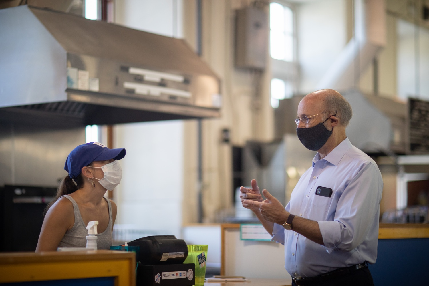 """<a href=""""https://filesource.wostreaming.net/commonwealthofpa/photo/18155_gov_freshFood_dz_008.jpg"""" target=""""_blank"""">⇣Download Photo<br></a>Pennsylvania Governor Tom Wolf speaking with vendors at  the Broad Street Market.   Governor Tom Wolf today announced that $10 million is now available for Pennsylvania businesses that have worked to maintain access to fresh, healthy food throughout the COVID-19 pandemic.  Harrisburg, PA  July 9, 2020"""