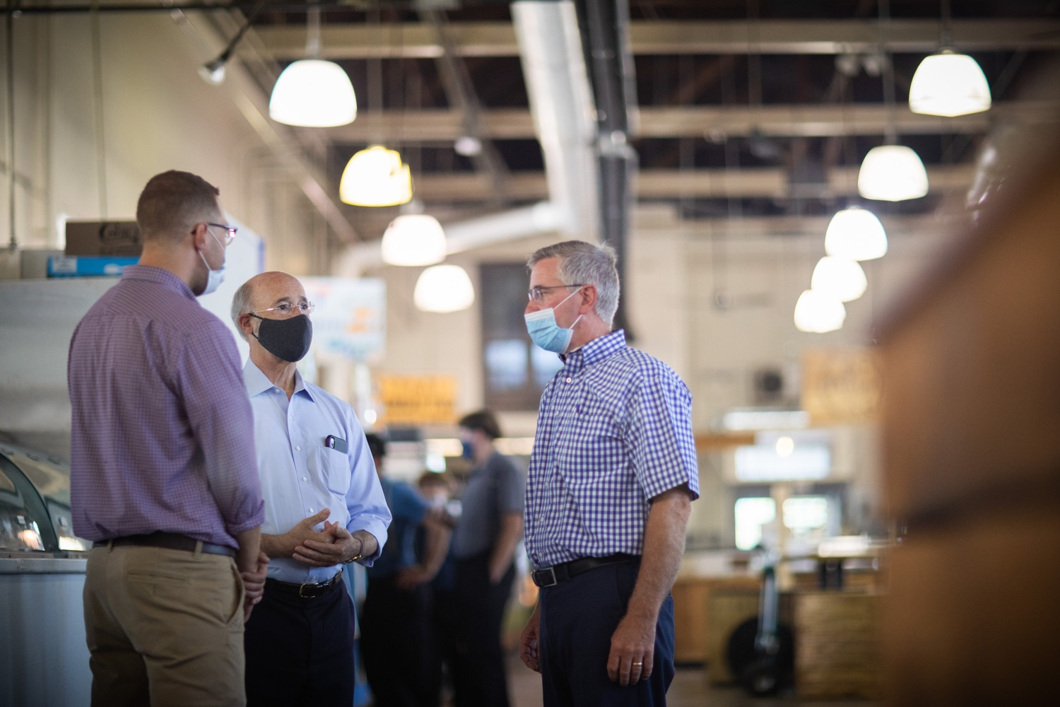 """<a href=""""https://filesource.wostreaming.net/commonwealthofpa/photo/18155_gov_freshFood_dz_015.jpg"""" target=""""_blank"""">⇣Download Photo<br></a>Pennsylvania Governor Tom Wolf taking a tour of the of the Broad Street Market with Pennsylvania Agriculture Secretary Russell and Josh Heilman, Executive Director of the Broad Street Market.  Governor Tom Wolf today announced that $10 million is now available for Pennsylvania businesses that have worked to maintain access to fresh, healthy food throughout the COVID-19 pandemic.  Harrisburg, PA  July 9, 2020"""