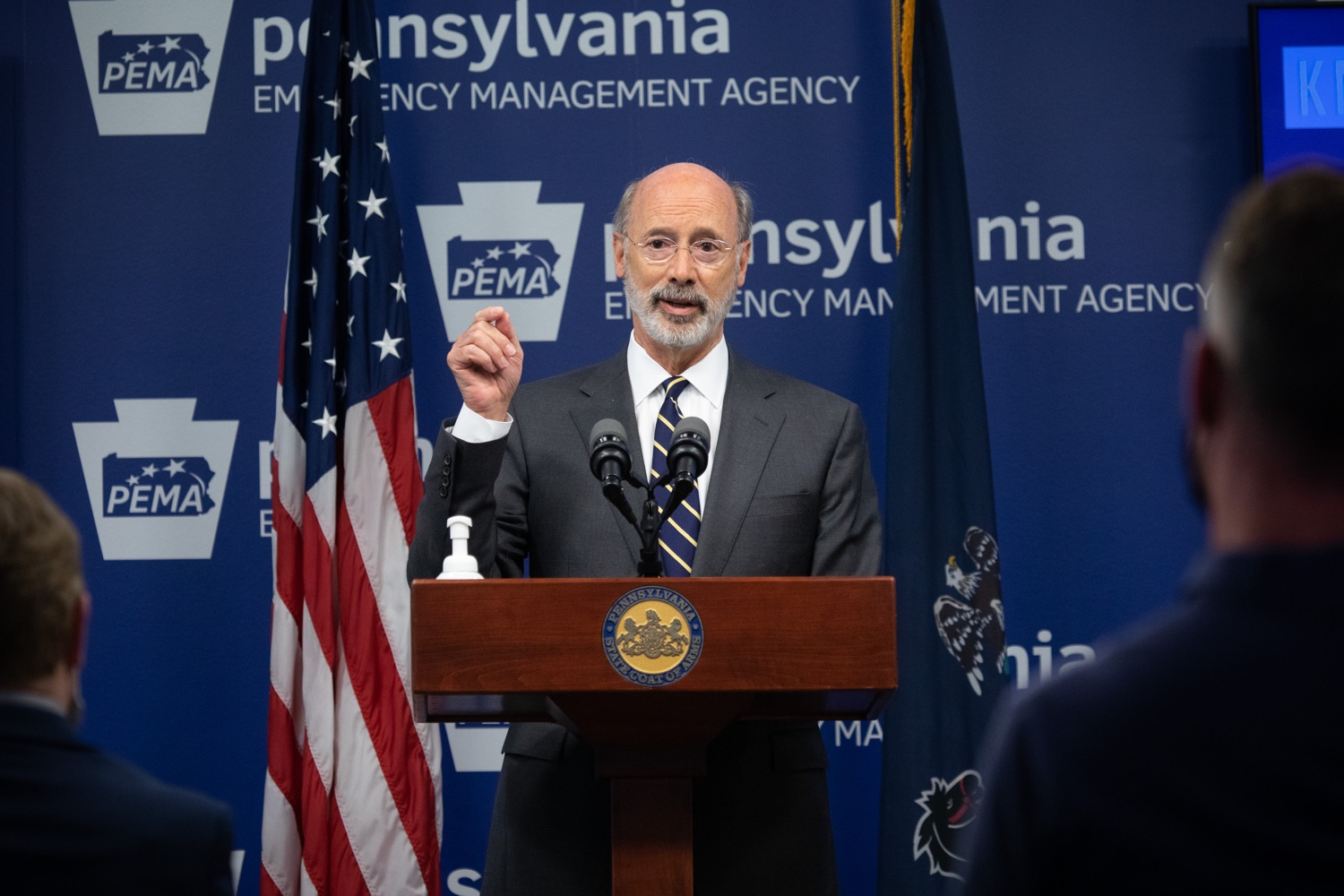 """<a href=""""https://filesource.wostreaming.net/commonwealthofpa/photo/18165_GOV_covid_mitigation_dz_01.jpg"""" target=""""_blank"""">⇣Download Photo<br></a>Pennsylvania Governor Tom Wolf speaking with the press. Governor Tom Wolf and Sec. of Health Dr. Rachel Levine today signed new orders for targeted mitigation efforts in response to the recent rise in COVID cases, primarily in southwest Pennsylvania, but also in other counties in the state, influencing the decision for statewide mitigation efforts for bars and restaurants, gatherings and telework. The new orders take effect at 12:01 a.m., Thursday, July 16, 2020.  Harrisburg, - July 15, 2020"""