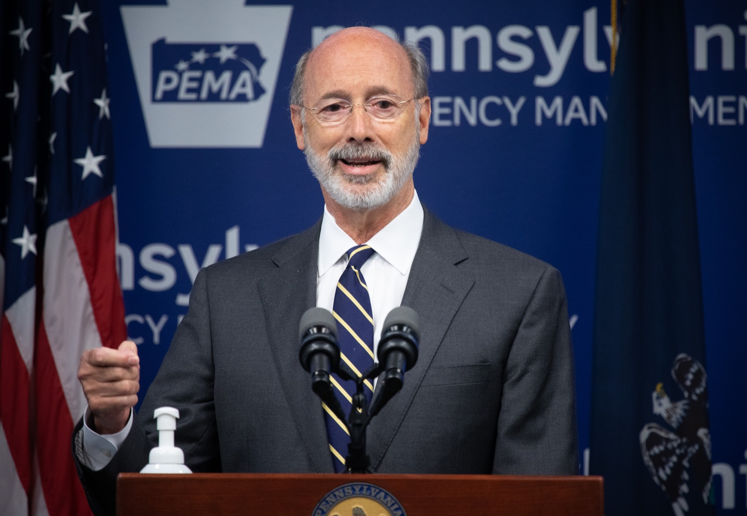 """<a href=""""https://filesource.wostreaming.net/commonwealthofpa/photo/18165_GOV_covid_mitigation_dz_02.jpg"""" target=""""_blank"""">⇣Download Photo<br></a>Pennsylvania Governor Tom Wolf speaking with the press. Governor Tom Wolf and Sec. of Health Dr. Rachel Levine today signed new orders for targeted mitigation efforts in response to the recent rise in COVID cases, primarily in southwest Pennsylvania, but also in other counties in the state, influencing the decision for statewide mitigation efforts for bars and restaurants, gatherings and telework. The new orders take effect at 12:01 a.m., Thursday, July 16, 2020.  Harrisburg, - July 15, 2020"""