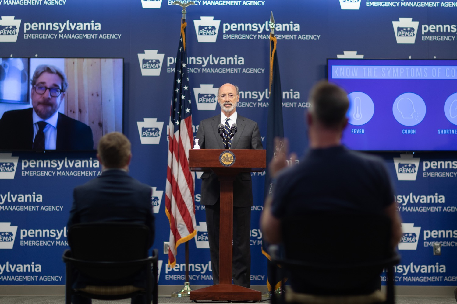 """<a href=""""https://filesource.wostreaming.net/commonwealthofpa/photo/18165_GOV_covid_mitigation_dz_04.jpg"""" target=""""_blank"""">⇣Download Photo<br></a>Pennsylvania Governor Tom Wolf speaking with the press. Governor Tom Wolf and Sec. of Health Dr. Rachel Levine today signed new orders for targeted mitigation efforts in response to the recent rise in COVID cases, primarily in southwest Pennsylvania, but also in other counties in the state, influencing the decision for statewide mitigation efforts for bars and restaurants, gatherings and telework. The new orders take effect at 12:01 a.m., Thursday, July 16, 2020.  Harrisburg, - July 15, 2020"""