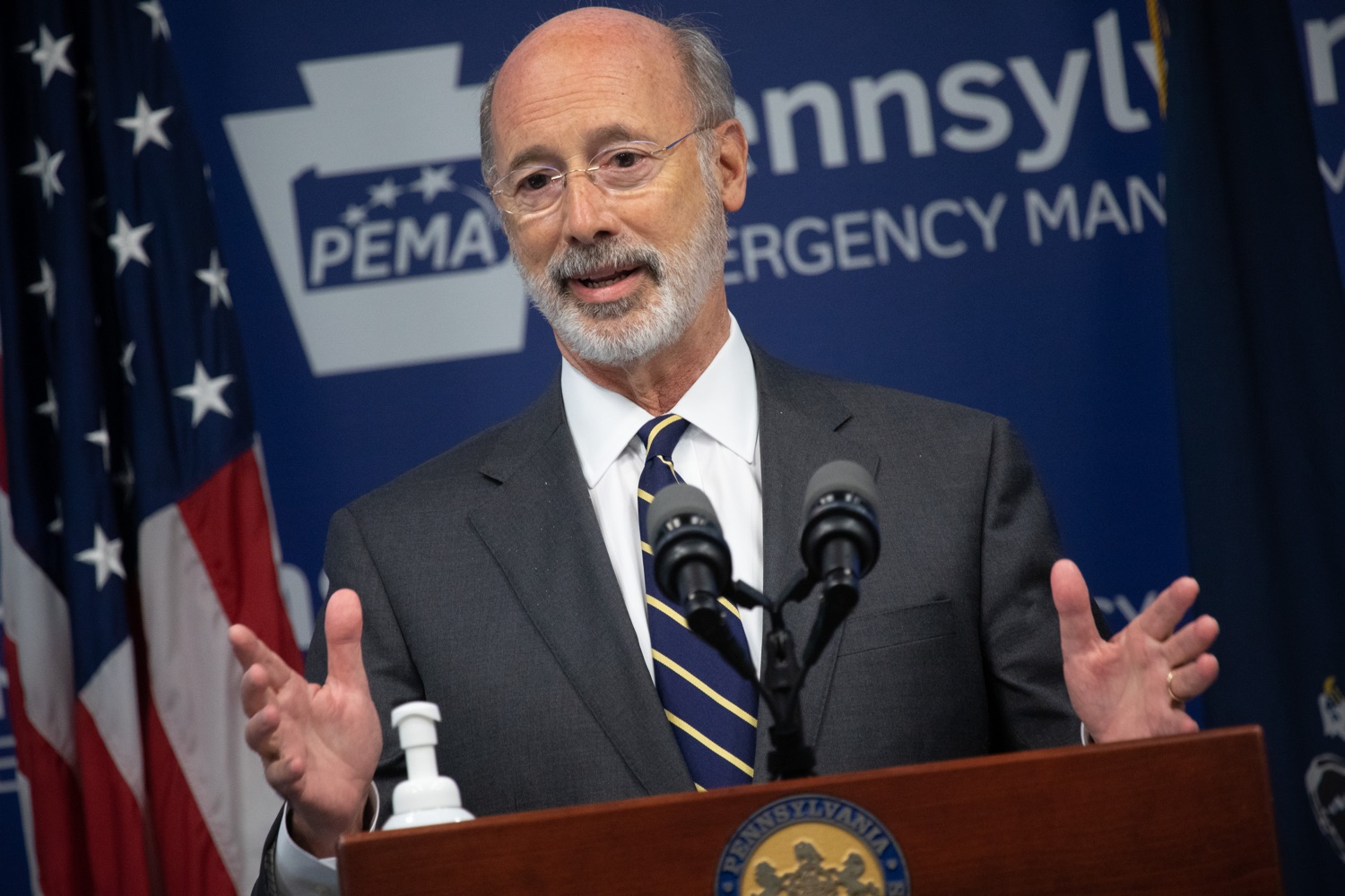 """<a href=""""https://filesource.wostreaming.net/commonwealthofpa/photo/18165_GOV_covid_mitigation_dz_06.jpg"""" target=""""_blank"""">⇣Download Photo<br></a>Pennsylvania Governor Tom Wolf speaking with the press.  Governor Tom Wolf and Sec. of Health Dr. Rachel Levine today signed new orders for targeted mitigation efforts in response to the recent rise in COVID cases, primarily in southwest Pennsylvania, but also in other counties in the state, influencing the decision for statewide mitigation efforts for bars and restaurants, gatherings and telework. The new orders take effect at 12:01 a.m., Thursday, July 16, 2020.  Harrisburg, - July 15, 2020"""