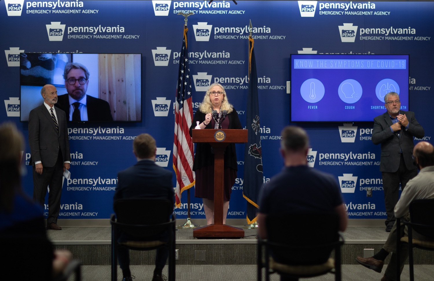 """<a href=""""https://filesource.wostreaming.net/commonwealthofpa/photo/18165_GOV_covid_mitigation_dz_07.jpg"""" target=""""_blank"""">⇣Download Photo<br></a>Pennsylvania Secretary of Health Dr. Rachel Levine speaking with the press.  Governor Tom Wolf and Sec. of Health Dr. Rachel Levine today signed new orders for targeted mitigation efforts in response to the recent rise in COVID cases, primarily in southwest Pennsylvania, but also in other counties in the state, influencing the decision for statewide mitigation efforts for bars and restaurants, gatherings and telework. The new orders take effect at 12:01 a.m., Thursday, July 16, 2020.  Harrisburg, - July 15, 2020"""