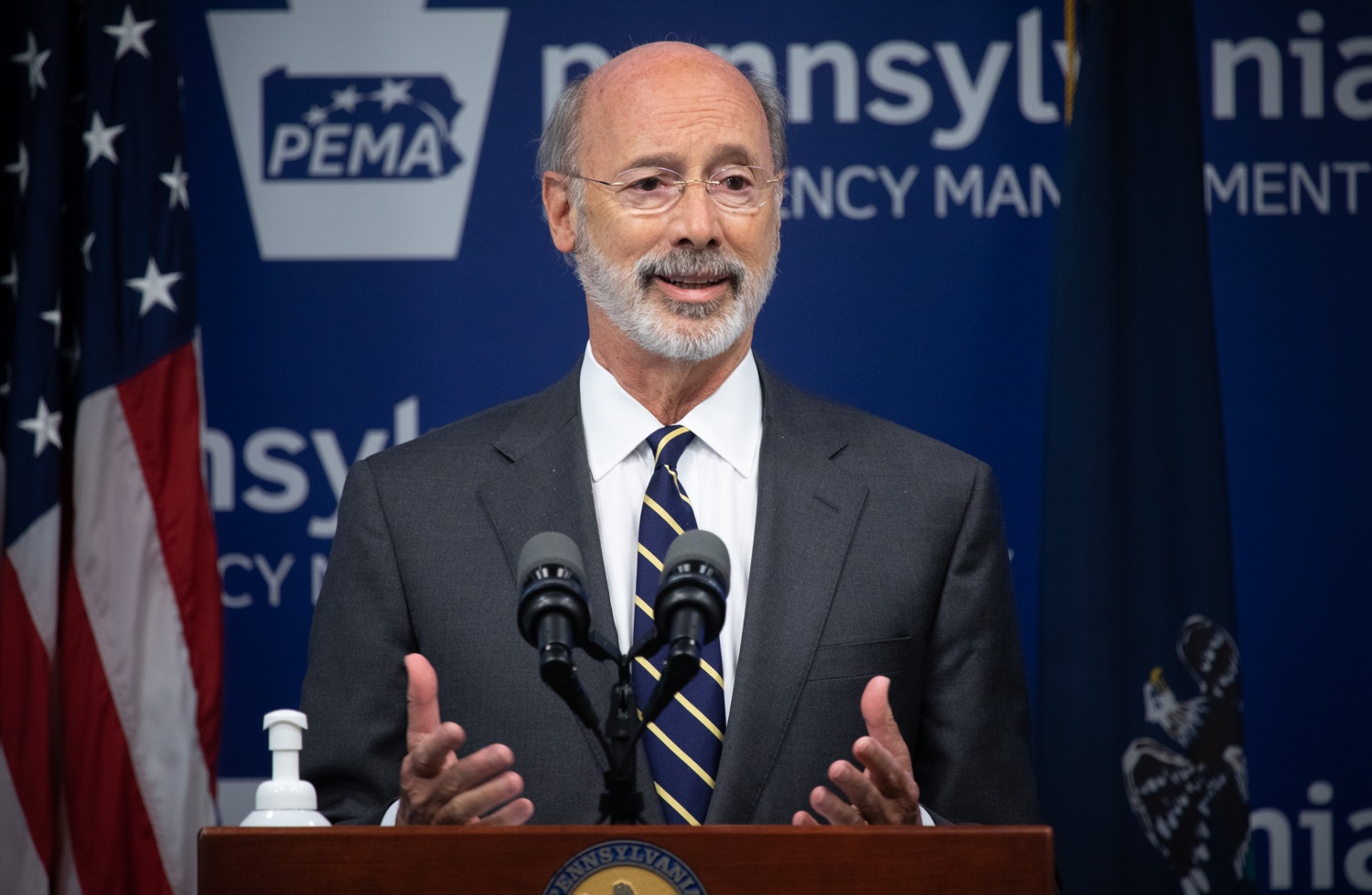 """<a href=""""https://filesource.wostreaming.net/commonwealthofpa/photo/18165_GOV_covid_mitigation_dz_08.jpg"""" target=""""_blank"""">⇣Download Photo<br></a>Pennsylvania Governor Tom Wolf speaking with the press. Governor Tom Wolf and Sec. of Health Dr. Rachel Levine today signed new orders for targeted mitigation efforts in response to the recent rise in COVID cases, primarily in southwest Pennsylvania, but also in other counties in the state, influencing the decision for statewide mitigation efforts for bars and restaurants, gatherings and telework. The new orders take effect at 12:01 a.m., Thursday, July 16, 2020.  Harrisburg, - July 15, 2020"""