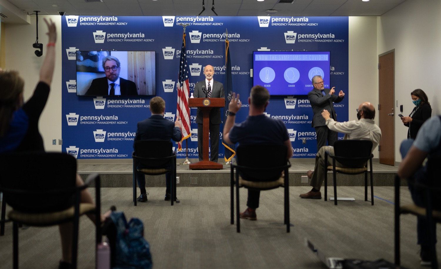 """<a href=""""https://filesource.wostreaming.net/commonwealthofpa/photo/18165_GOV_covid_mitigation_dz_09.jpg"""" target=""""_blank"""">⇣Download Photo<br></a>Pennsylvania Governor Tom Wolf speaking with the press. Governor Tom Wolf and Sec. of Health Dr. Rachel Levine today signed new orders for targeted mitigation efforts in response to the recent rise in COVID cases, primarily in southwest Pennsylvania, but also in other counties in the state, influencing the decision for statewide mitigation efforts for bars and restaurants, gatherings and telework. The new orders take effect at 12:01 a.m., Thursday, July 16, 2020.  Harrisburg, - July 15, 2020"""