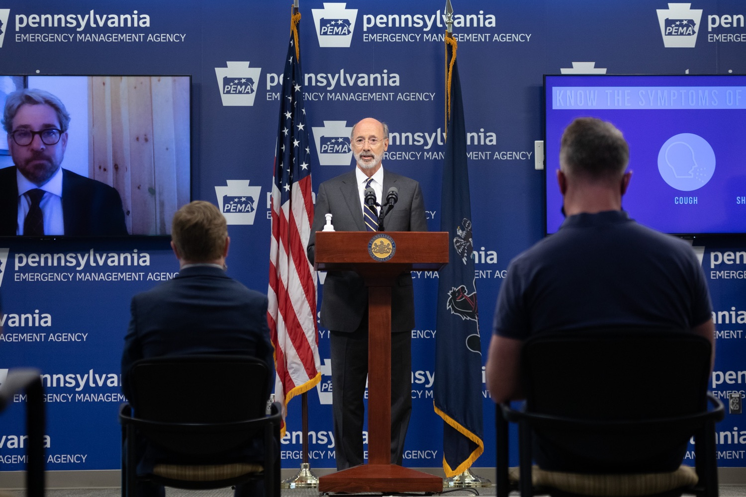 """<a href=""""https://filesource.wostreaming.net/commonwealthofpa/photo/18165_GOV_covid_mitigation_dz_10.jpg"""" target=""""_blank"""">⇣Download Photo<br></a>Pennsylvania Governor Tom Wolf speaking with the press. Governor Tom Wolf and Sec. of Health Dr. Rachel Levine today signed new orders for targeted mitigation efforts in response to the recent rise in COVID cases, primarily in southwest Pennsylvania, but also in other counties in the state, influencing the decision for statewide mitigation efforts for bars and restaurants, gatherings and telework. The new orders take effect at 12:01 a.m., Thursday, July 16, 2020.  Harrisburg, - July 15, 2020"""