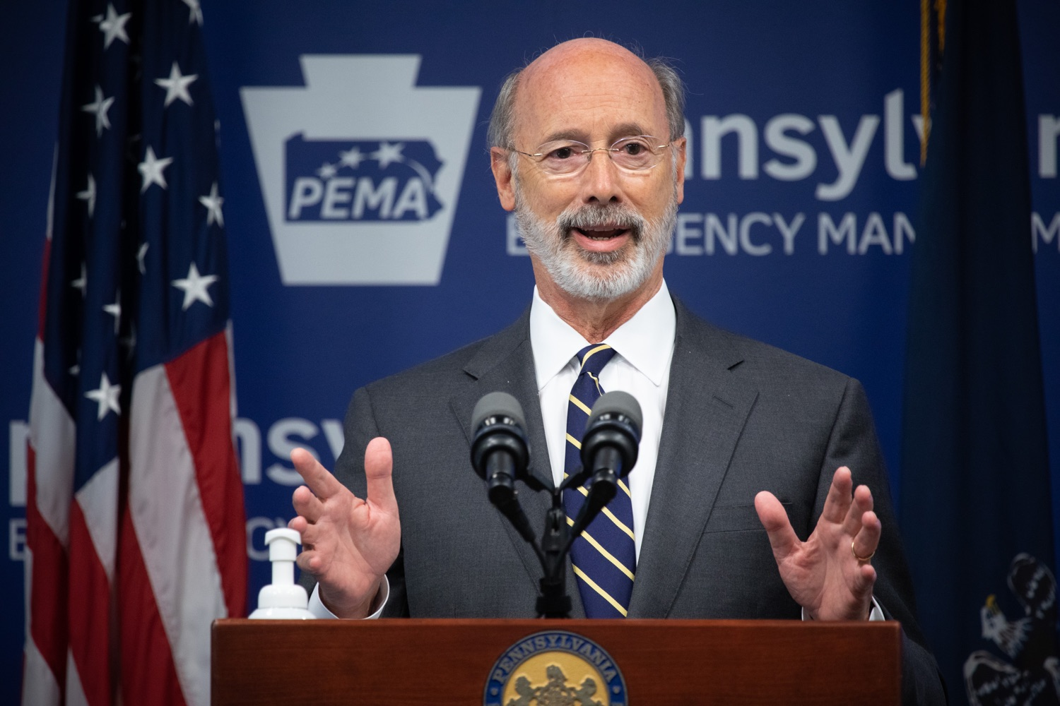"""<a href=""""https://filesource.wostreaming.net/commonwealthofpa/photo/18165_GOV_covid_mitigation_dz_12.jpg"""" target=""""_blank"""">⇣Download Photo<br></a>Pennsylvania Governor Tom Wolf speaking with the press. Governor Tom Wolf and Sec. of Health Dr. Rachel Levine today signed new orders for targeted mitigation efforts in response to the recent rise in COVID cases, primarily in southwest Pennsylvania, but also in other counties in the state, influencing the decision for statewide mitigation efforts for bars and restaurants, gatherings and telework. The new orders take effect at 12:01 a.m., Thursday, July 16, 2020.  Harrisburg, - July 15, 2020"""
