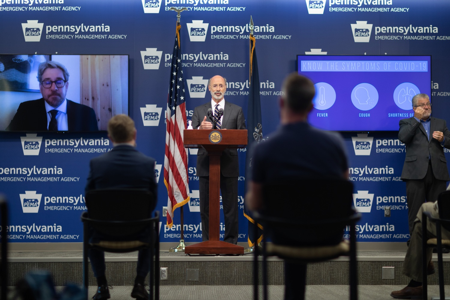 """<a href=""""https://filesource.wostreaming.net/commonwealthofpa/photo/18165_GOV_covid_mitigation_dz_13.jpg"""" target=""""_blank"""">⇣Download Photo<br></a>Pennsylvania Governor Tom Wolf speaking with the press. Governor Tom Wolf and Sec. of Health Dr. Rachel Levine today signed new orders for targeted mitigation efforts in response to the recent rise in COVID cases, primarily in southwest Pennsylvania, but also in other counties in the state, influencing the decision for statewide mitigation efforts for bars and restaurants, gatherings and telework. The new orders take effect at 12:01 a.m., Thursday, July 16, 2020.  Harrisburg, - July 15, 2020"""