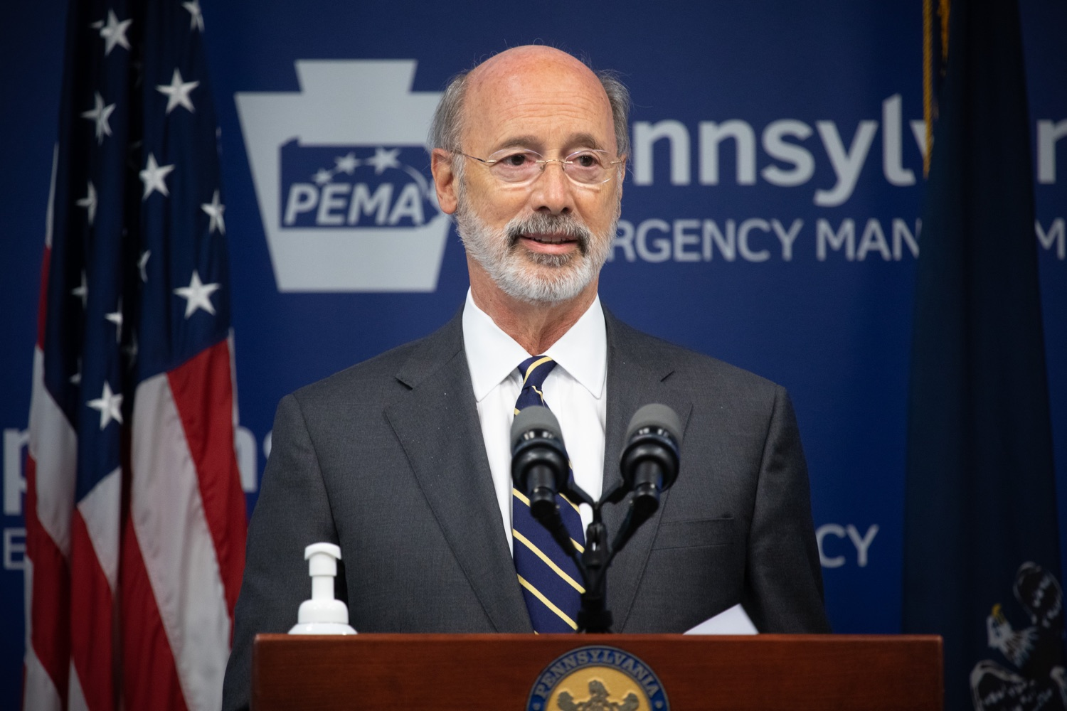 """<a href=""""https://filesource.wostreaming.net/commonwealthofpa/photo/18165_GOV_covid_mitigation_dz_14.jpg"""" target=""""_blank"""">⇣Download Photo<br></a>Pennsylvania Governor Tom Wolf speaking with the press. Governor Tom Wolf and Sec. of Health Dr. Rachel Levine today signed new orders for targeted mitigation efforts in response to the recent rise in COVID cases, primarily in southwest Pennsylvania, but also in other counties in the state, influencing the decision for statewide mitigation efforts for bars and restaurants, gatherings and telework. The new orders take effect at 12:01 a.m., Thursday, July 16, 2020.  Harrisburg, - July 15, 2020"""
